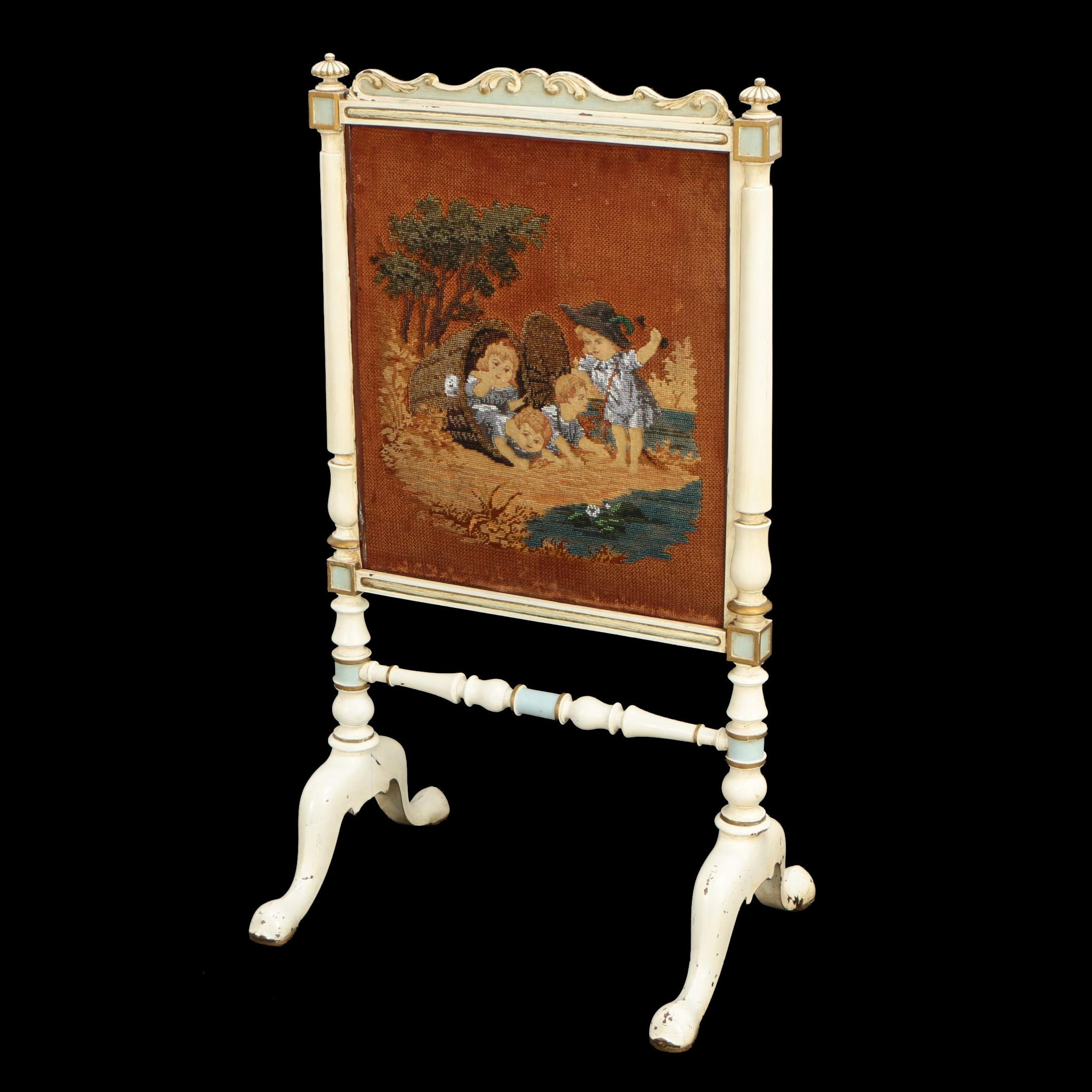 Painted and Parcel-Gilt Fire Screen with Beaded Needlepoint Panel, 19th Century