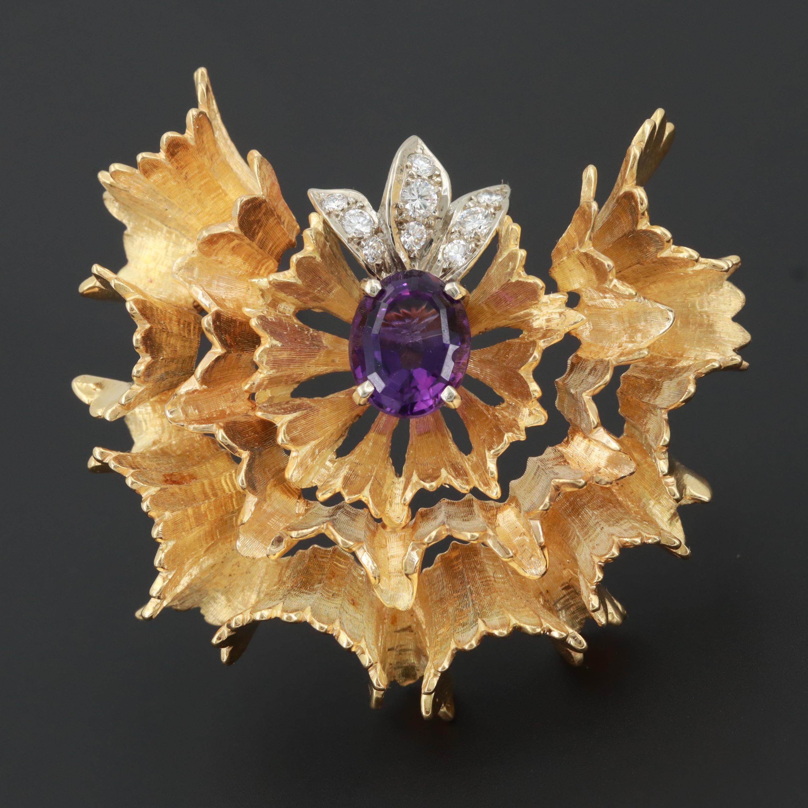 Circa 1950s 18K Yellow Gold Amethyst and Diamond Brooch