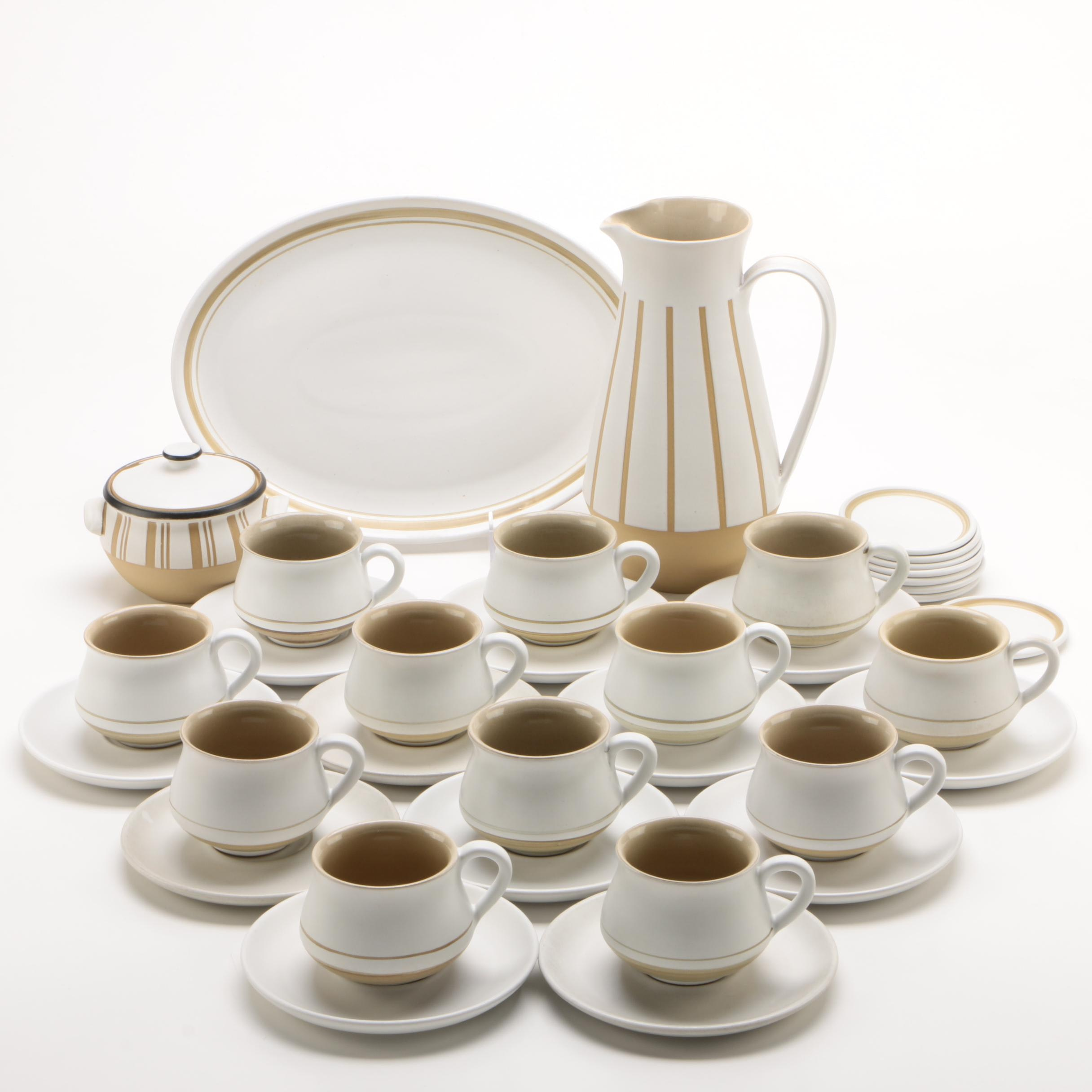 "Denby ""Gourmet"" Stoneware Beverage Set for Twelve, 1965-1976"