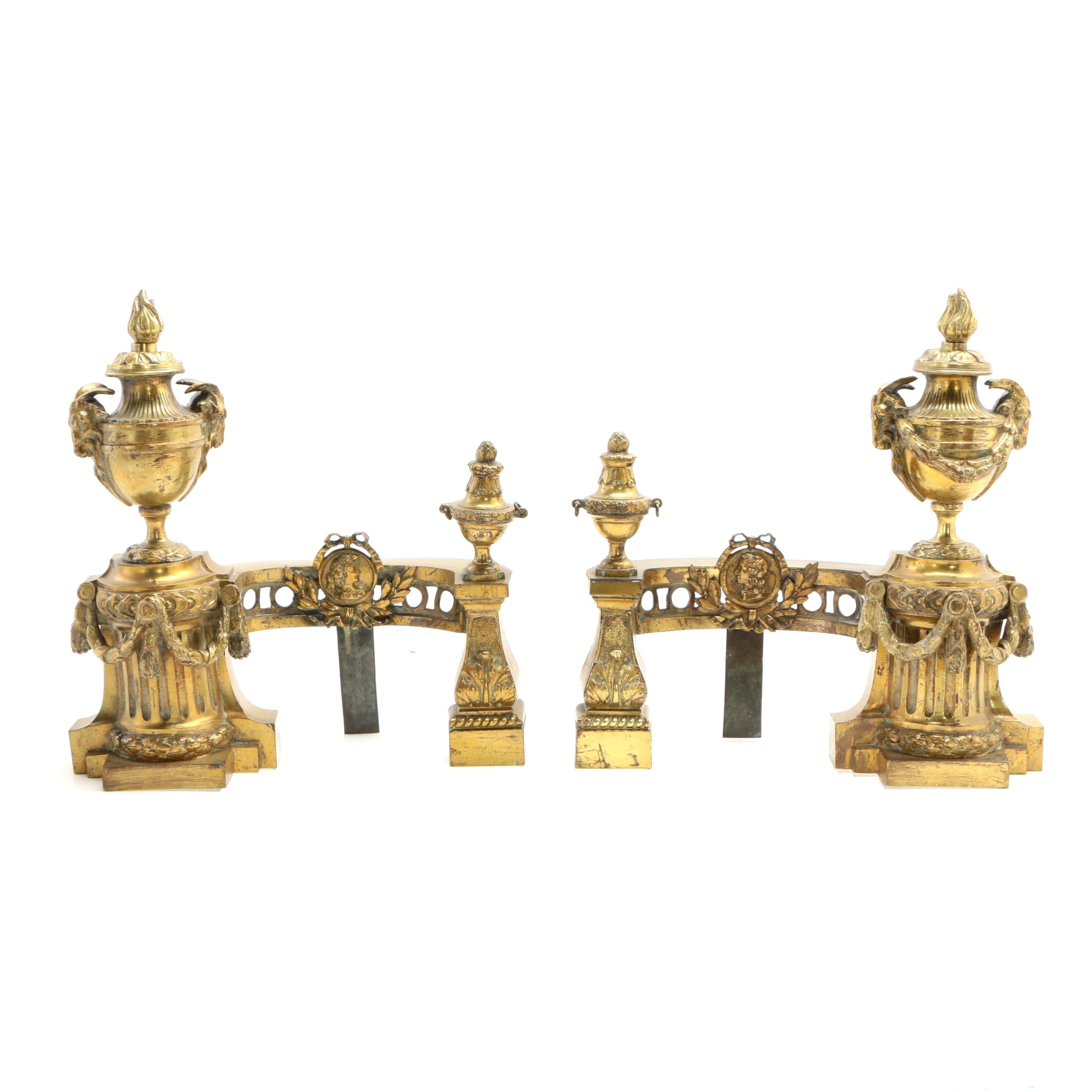 Neoclassical Style Gilt Metal Chenets, Late 19th to Early 20th Century