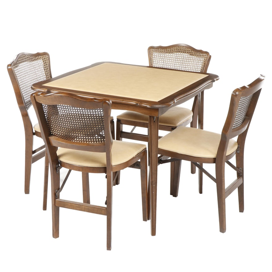 Mid Century Stakmore Card Table And Folding Chairs Ebth