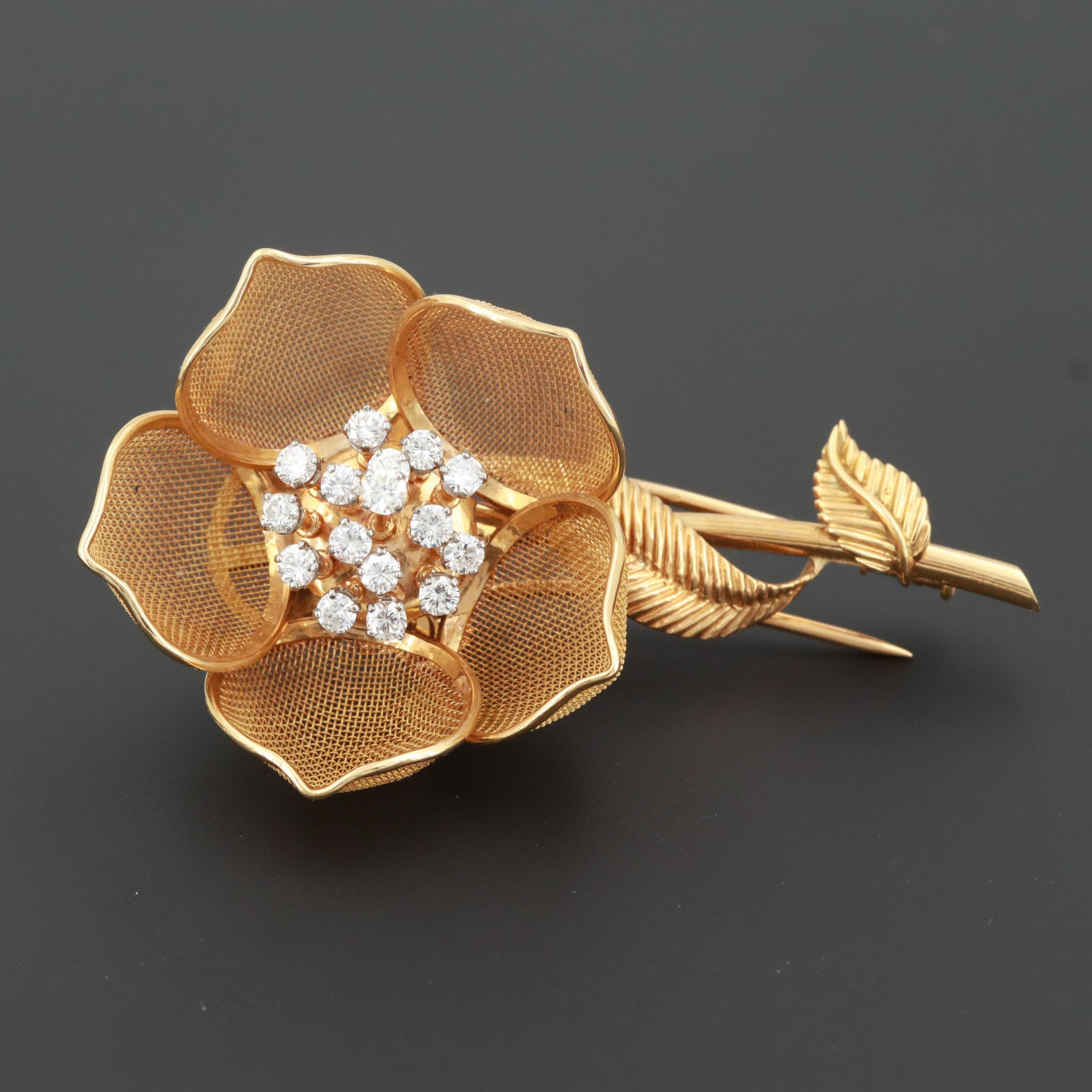 Circa 1970s French 18K Gold 1.03 CTW Diamond Articulating Flower Fur Brooch
