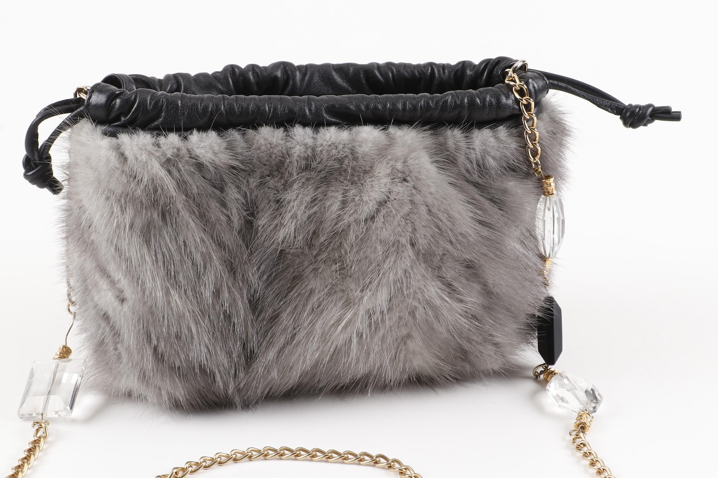 Paolo Masi Grey Mink And Black Leather Purse With Chain