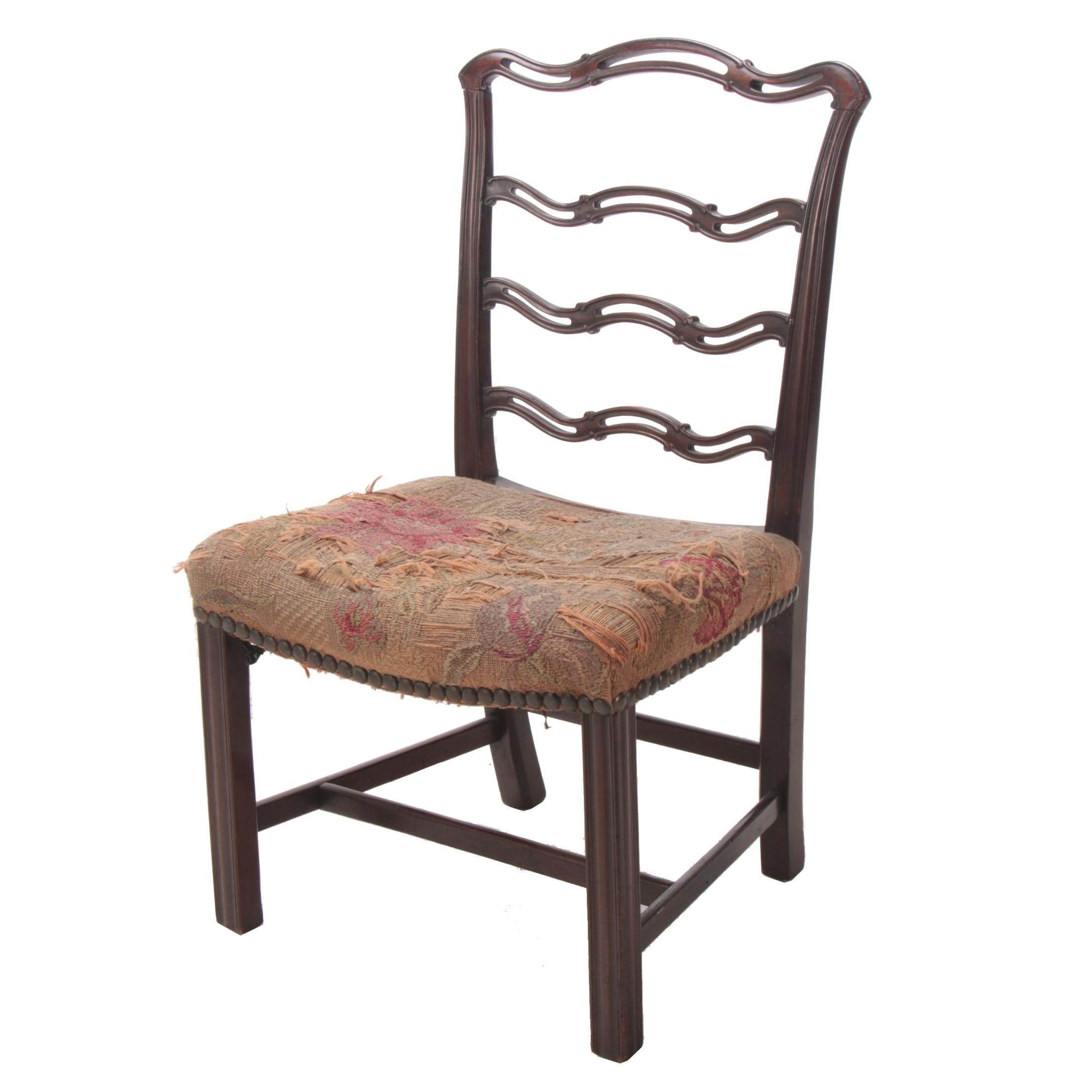 George III Style Carved Mahogany Ladderback Side Chair, 19th Century