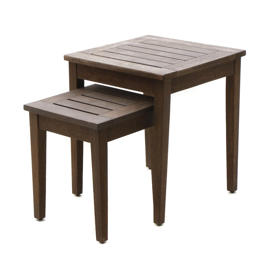 Two Teak Nested Tables Attributed To Pottery Barn