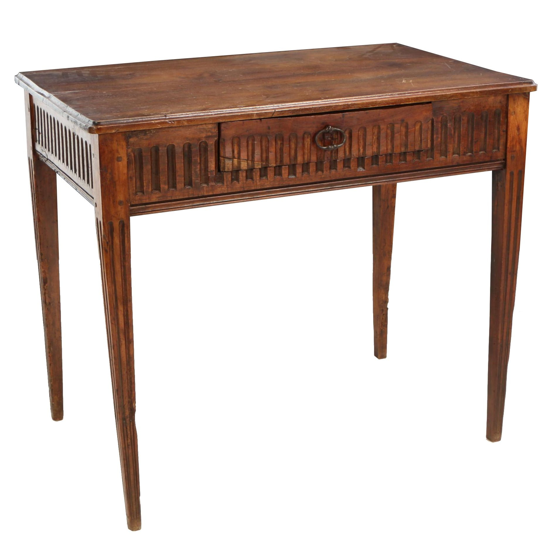 Provincial Carved Fruitwood and Walnut Side Table, Late 18th/Early 19th Century