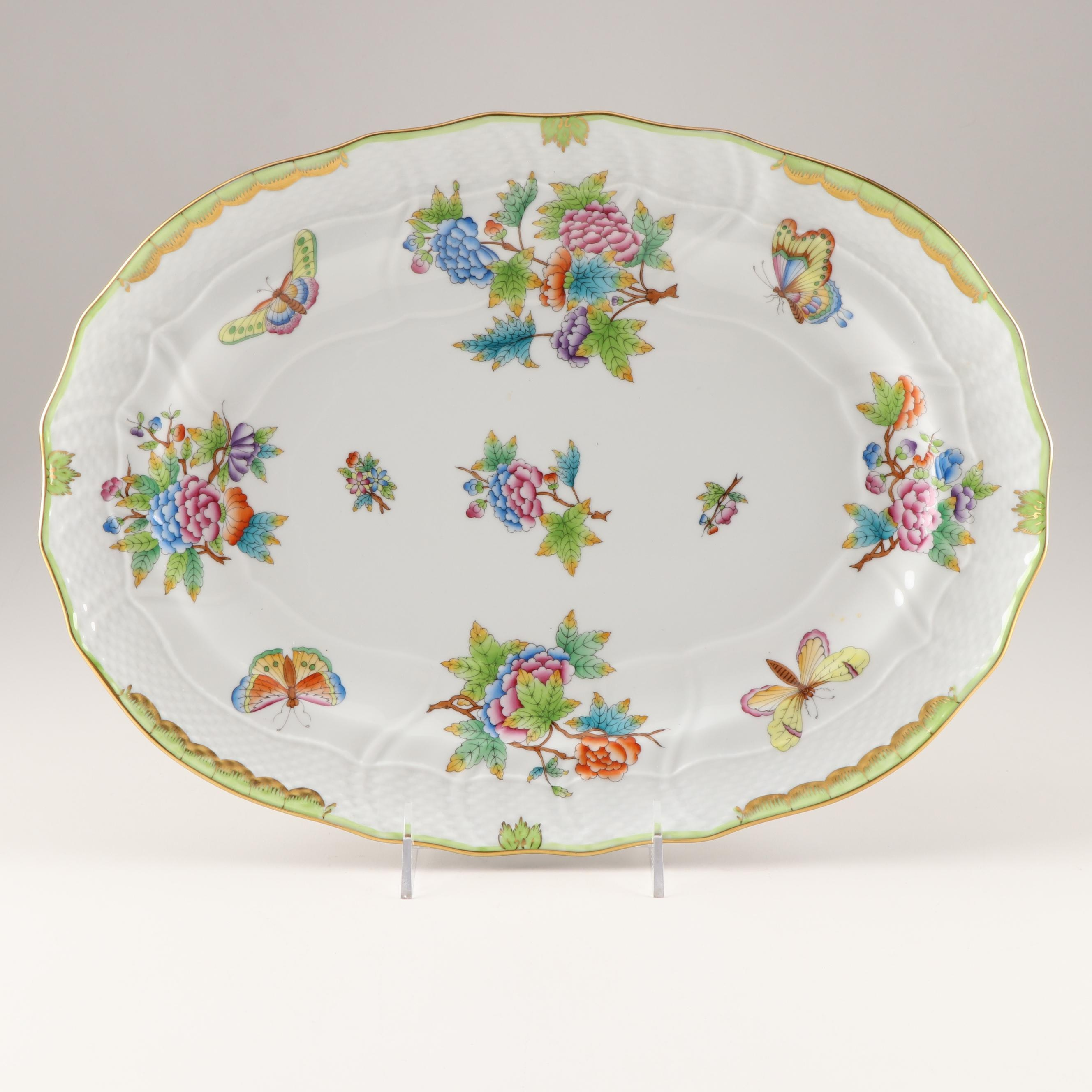 """Herend """"Queen Victoria"""" Serving Platter, Late 20th Century"""