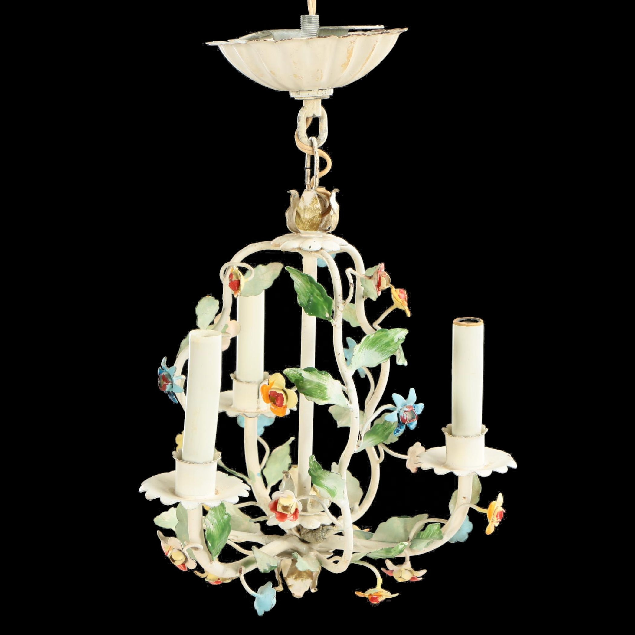 Floral Tole Three-Light Chandelier