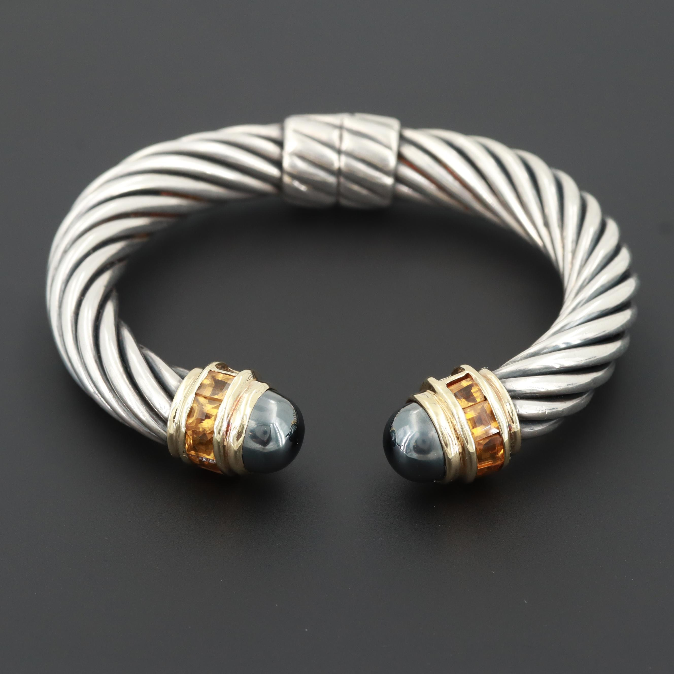 "David Yurman Sterling Silver Hematite and Citrine ""Renaissance"" Cuff"