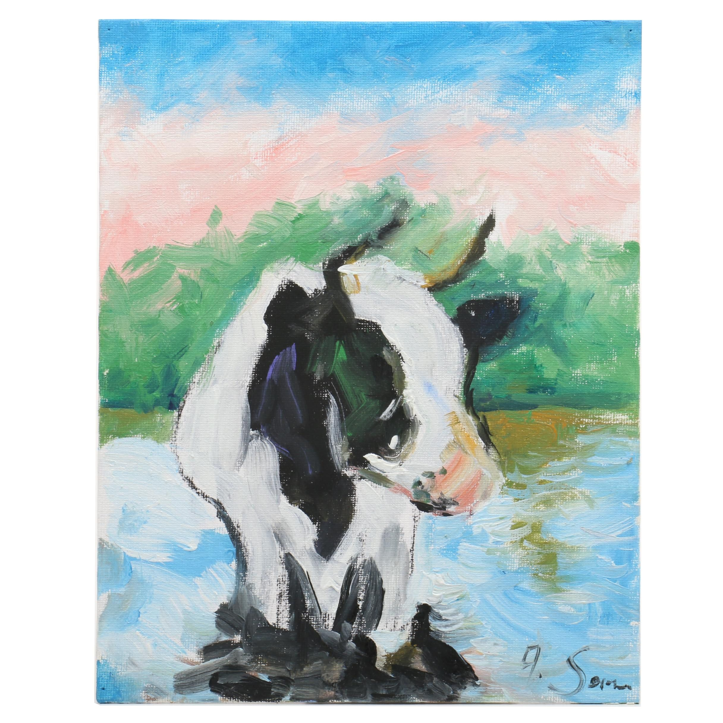 Andrew Semberecki Oil Painting of Cow
