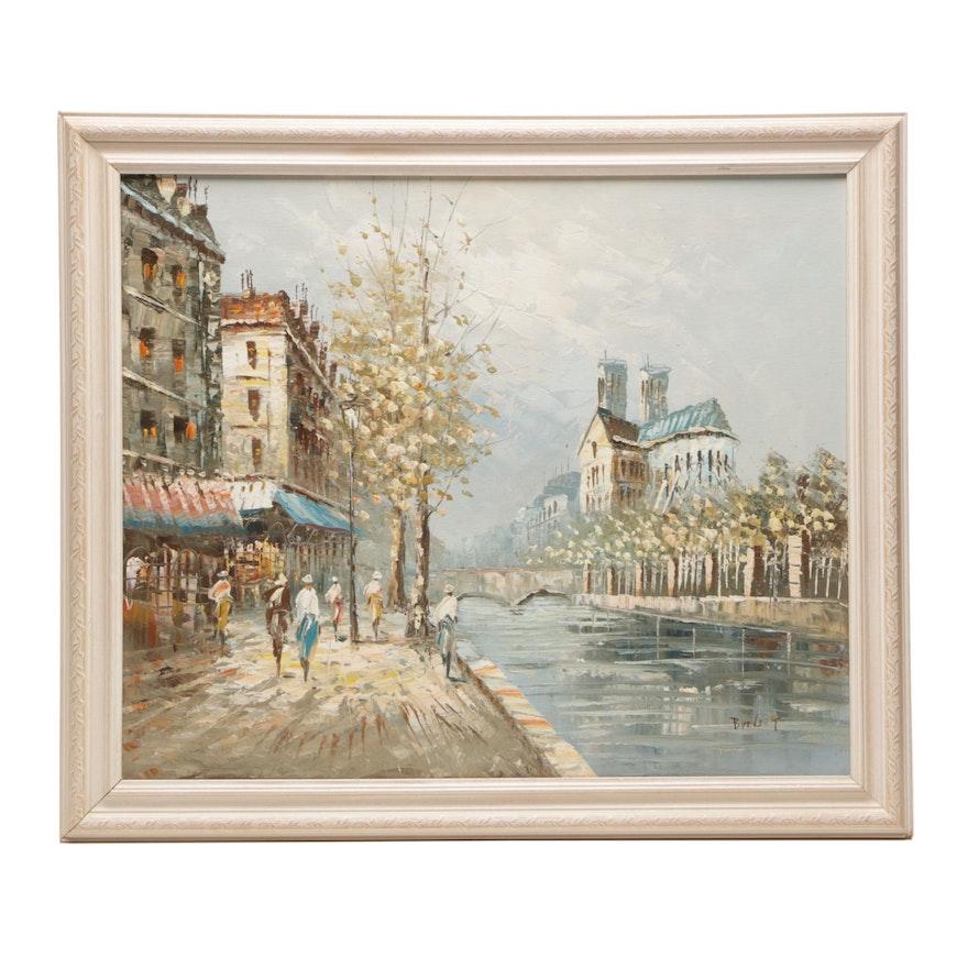 Burnett Oil Painting of Paris Street Scene