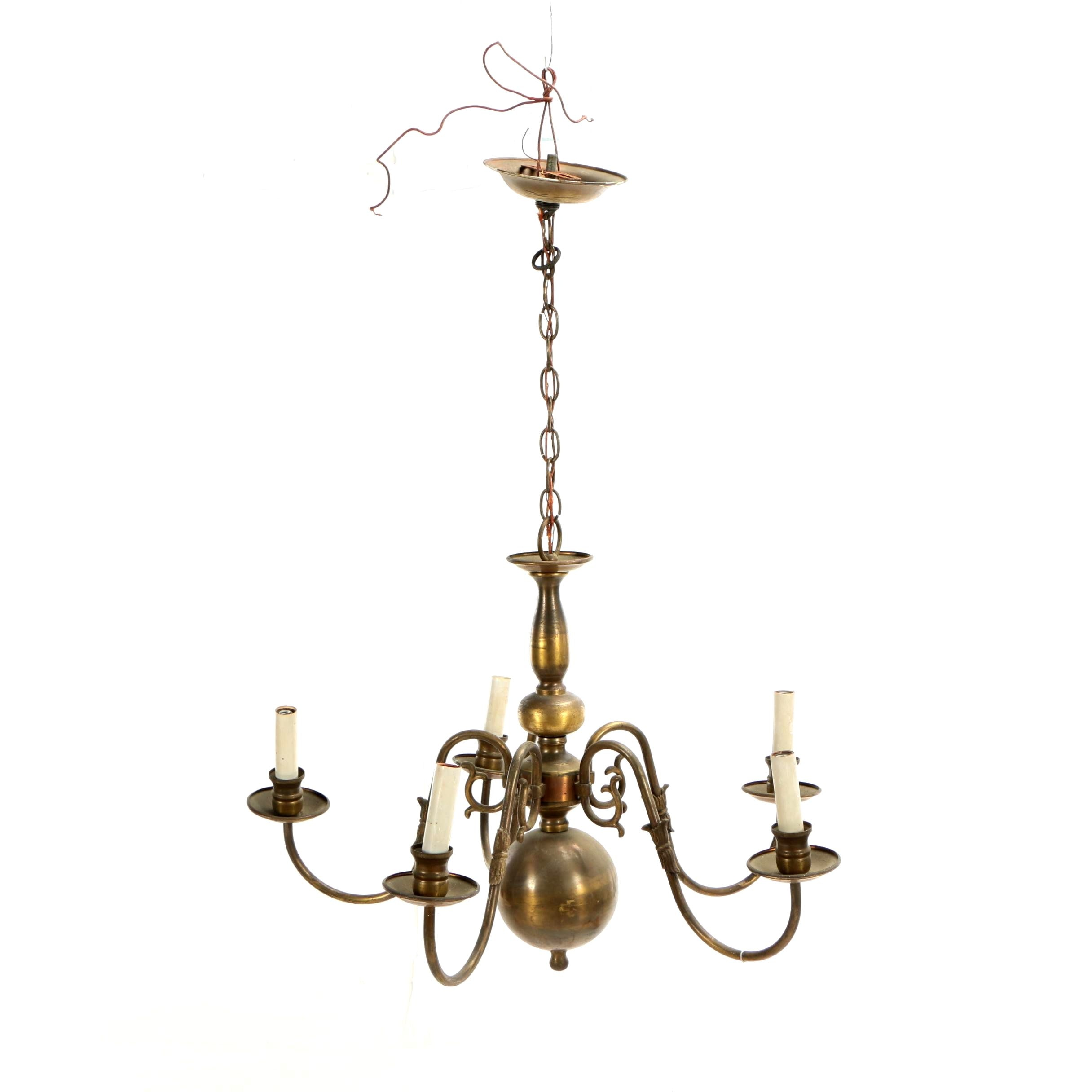 Colonial Revival Brass Five-Light Chandelier