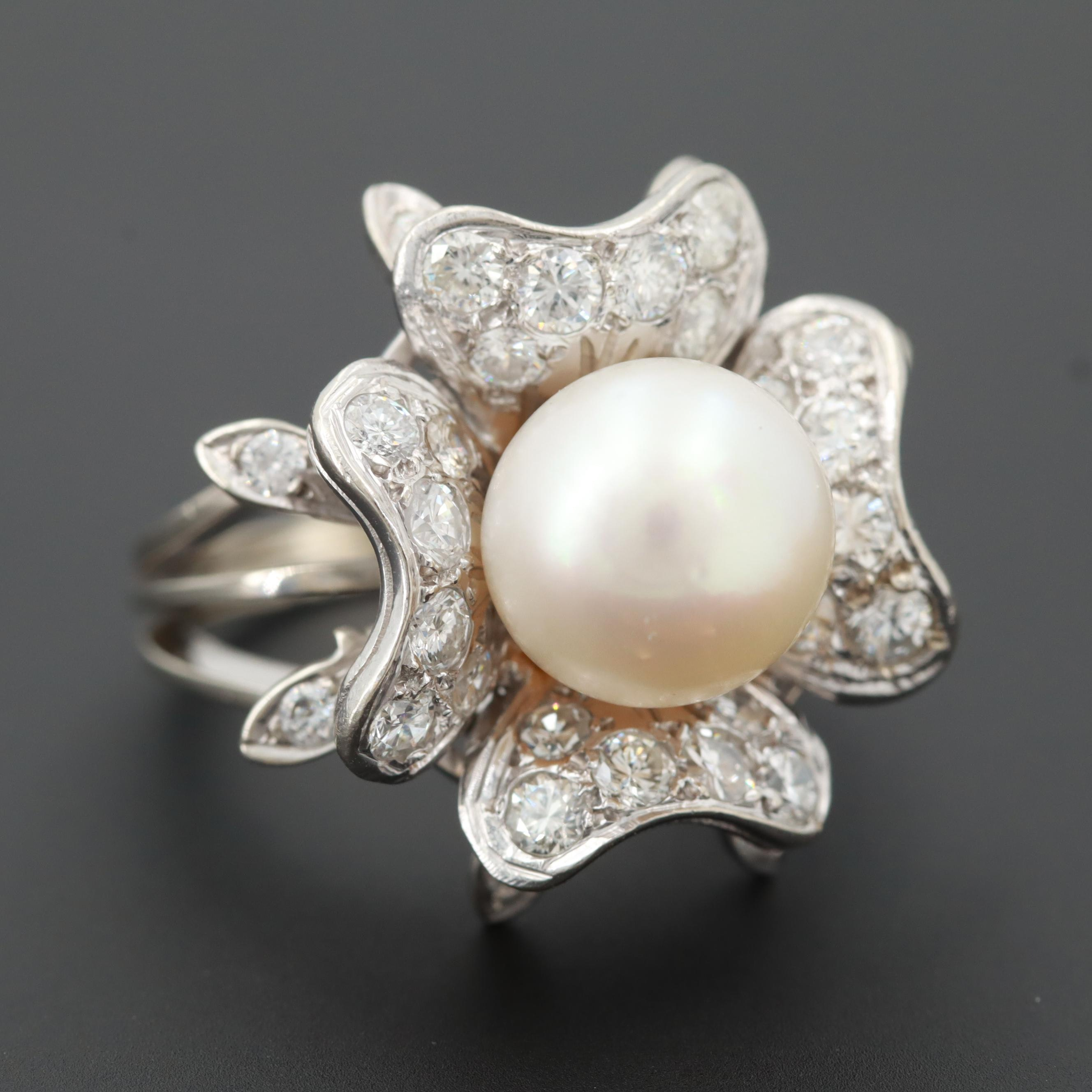 Vintage 14K White Gold Cultured Pearl and 1.36 CTW Diamond Flower Ring