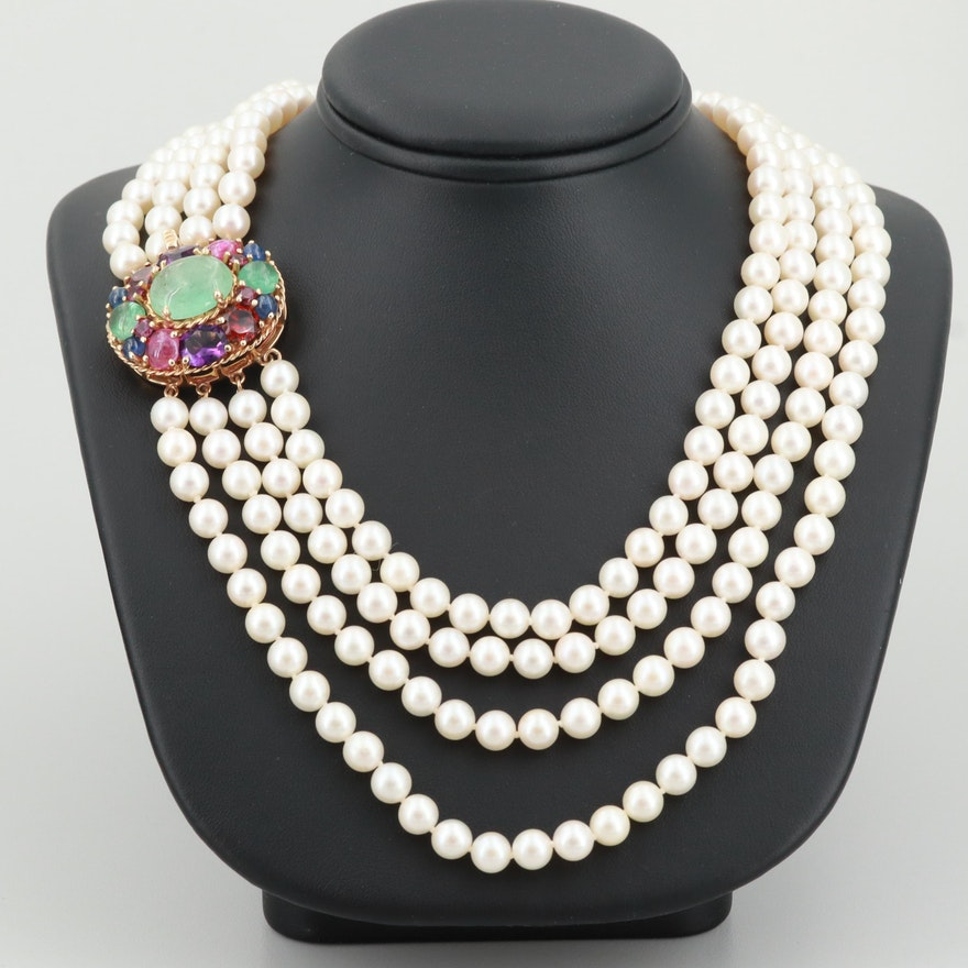 57653b0935bf0 14K Yellow Gold Emerald, Cultured Pearl and Gemstone Four Strand Necklace