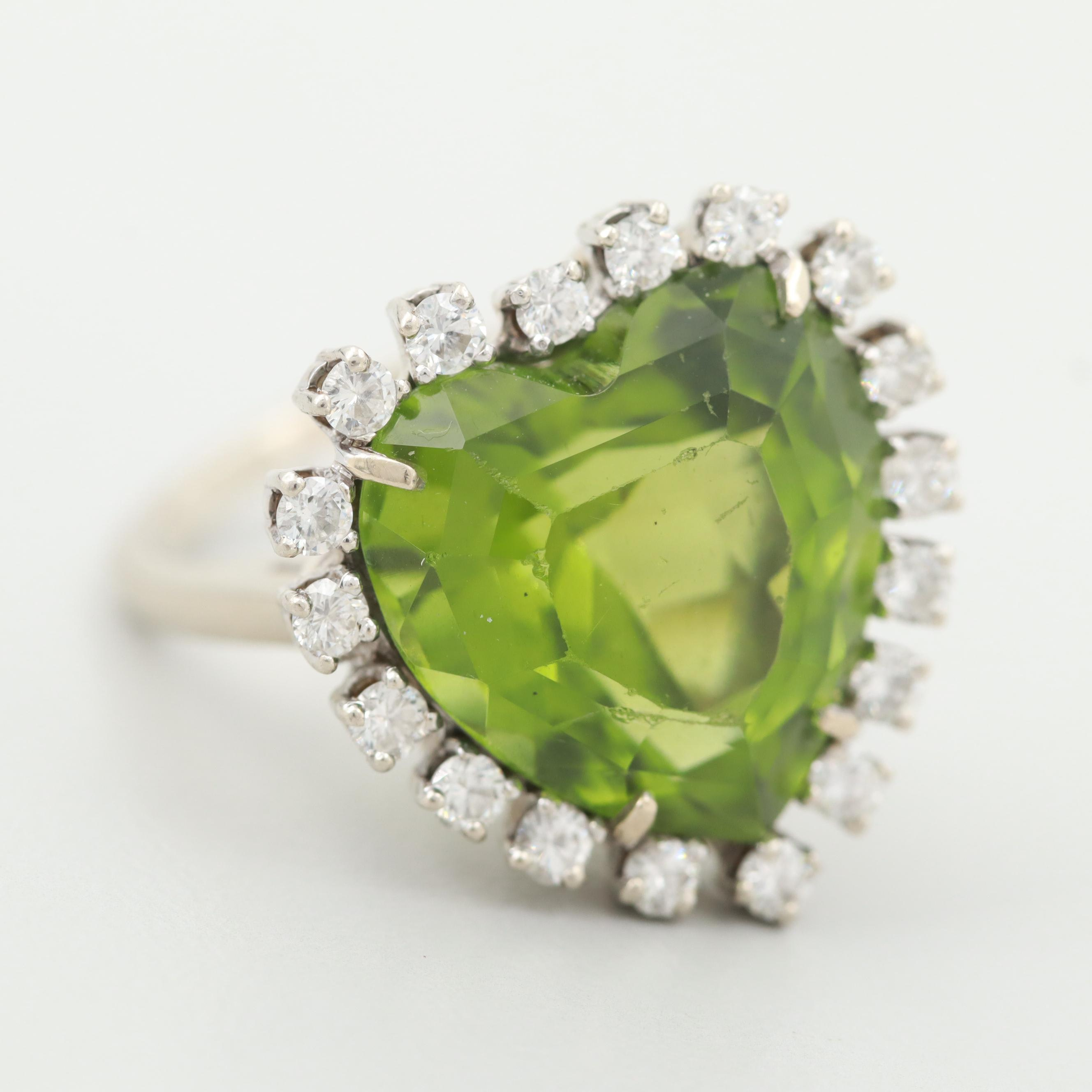Vintage 14K White Gold Peridot Heart Ring with Diamond Halo