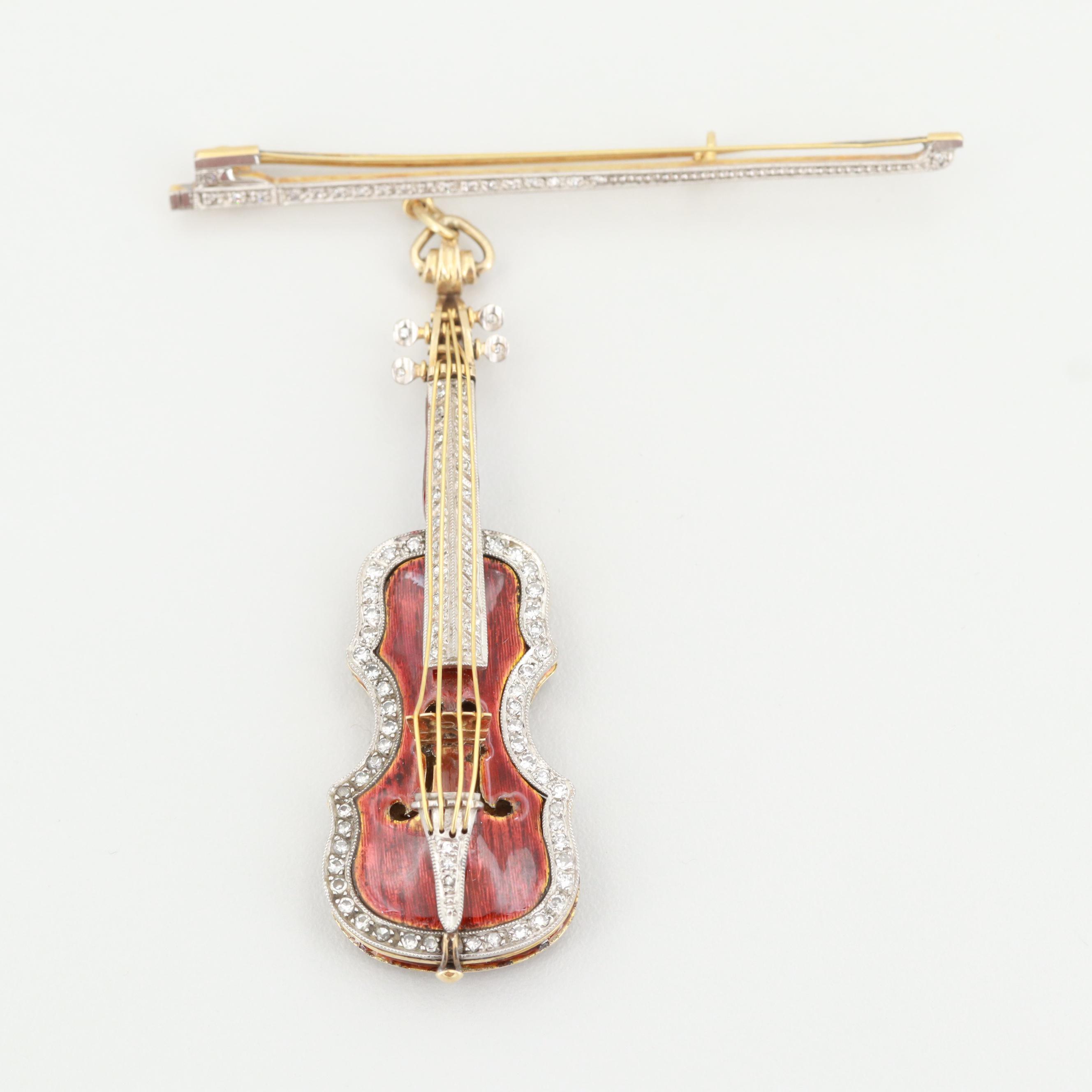 Vintage 18K Yellow Gold Diamond and Enamel Stradivarius Violin and Bow Brooch
