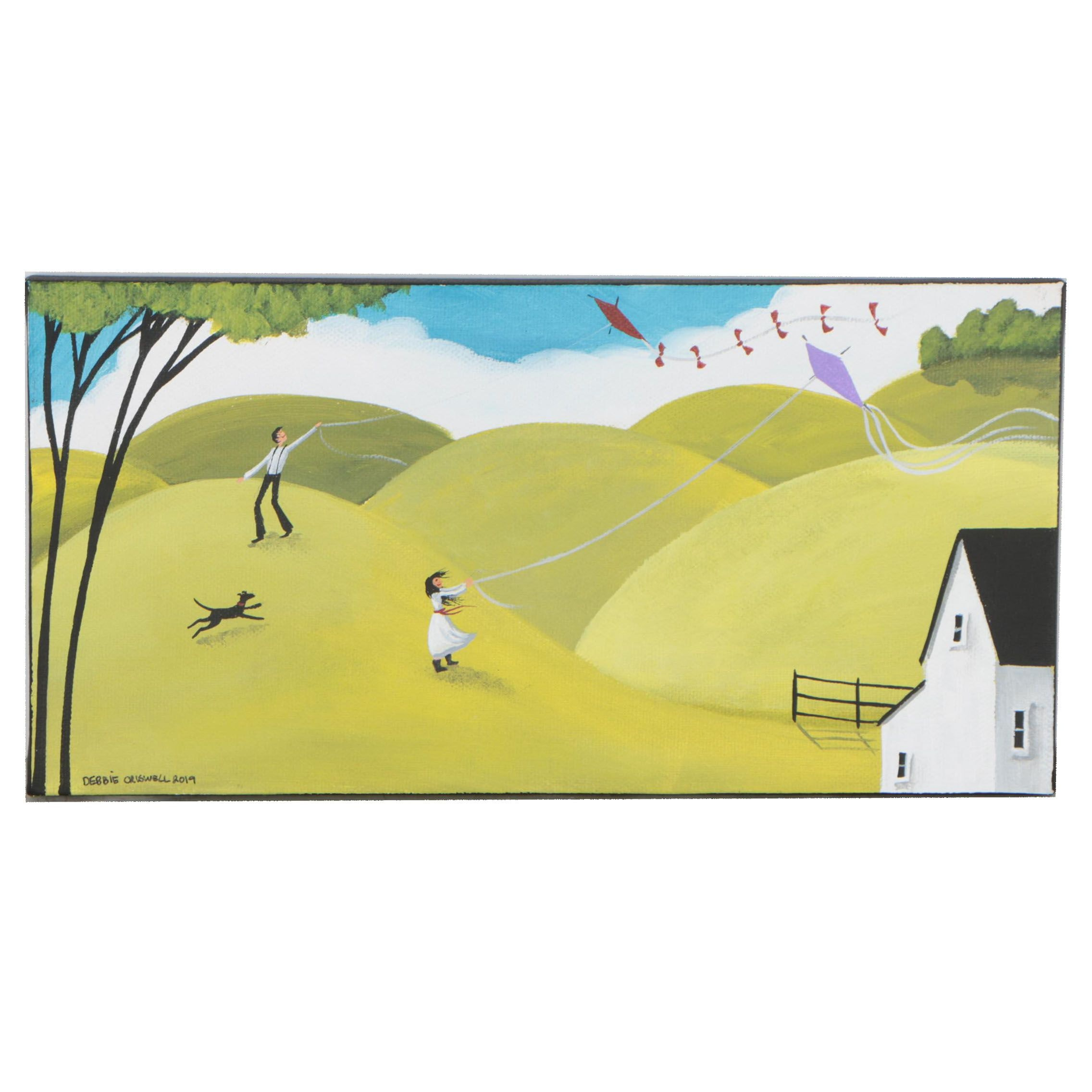 "Debbie ""Mama"" Criswell Folk Art Acrylic Painting ""Winds from the West"""