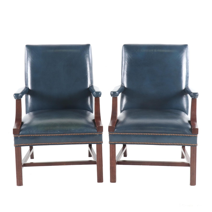 Blue Leather Office Chairs By National Business Furniture Co Circa 1990