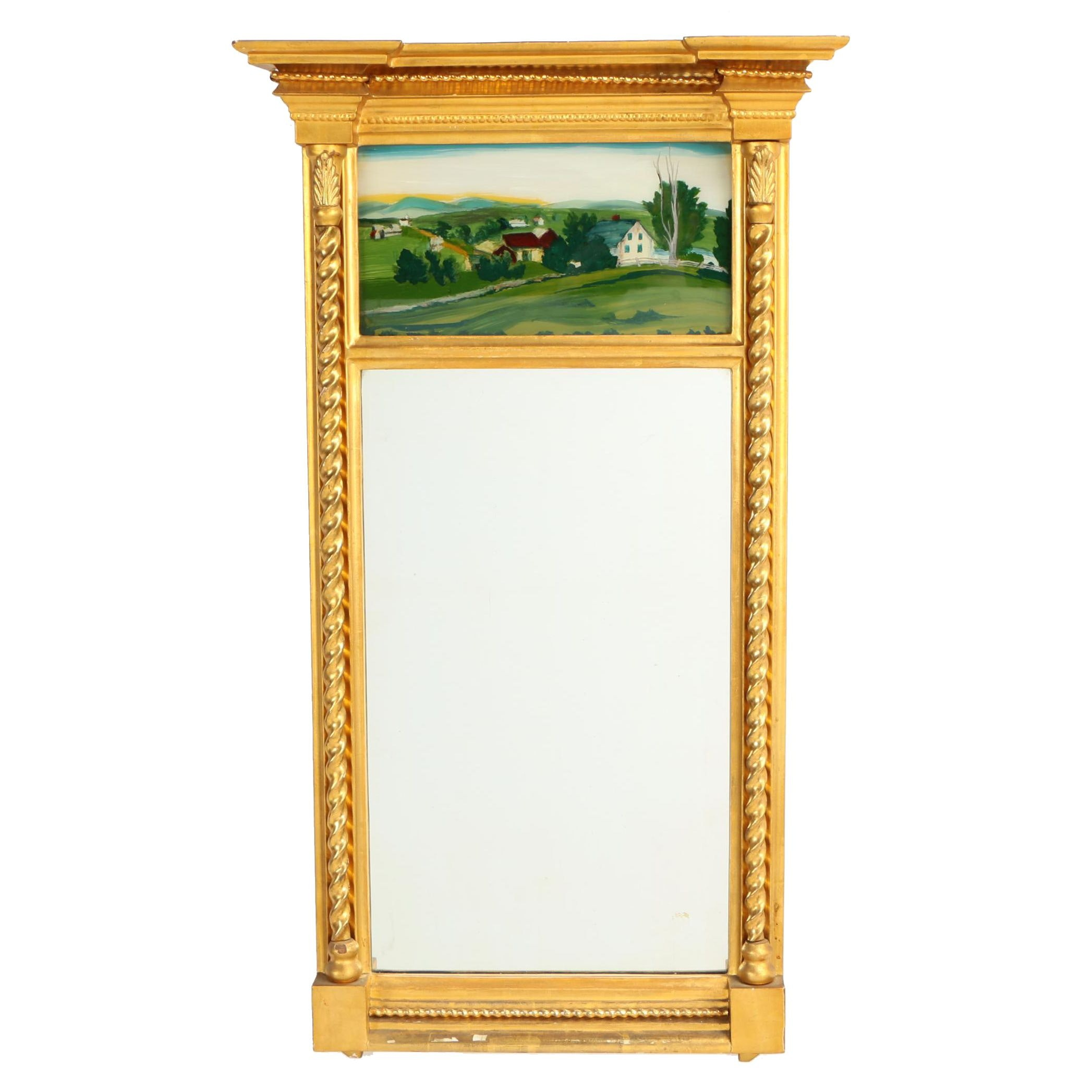 Classical Style Giltwood and Composition Mirror with Reverse-Painted Tablet