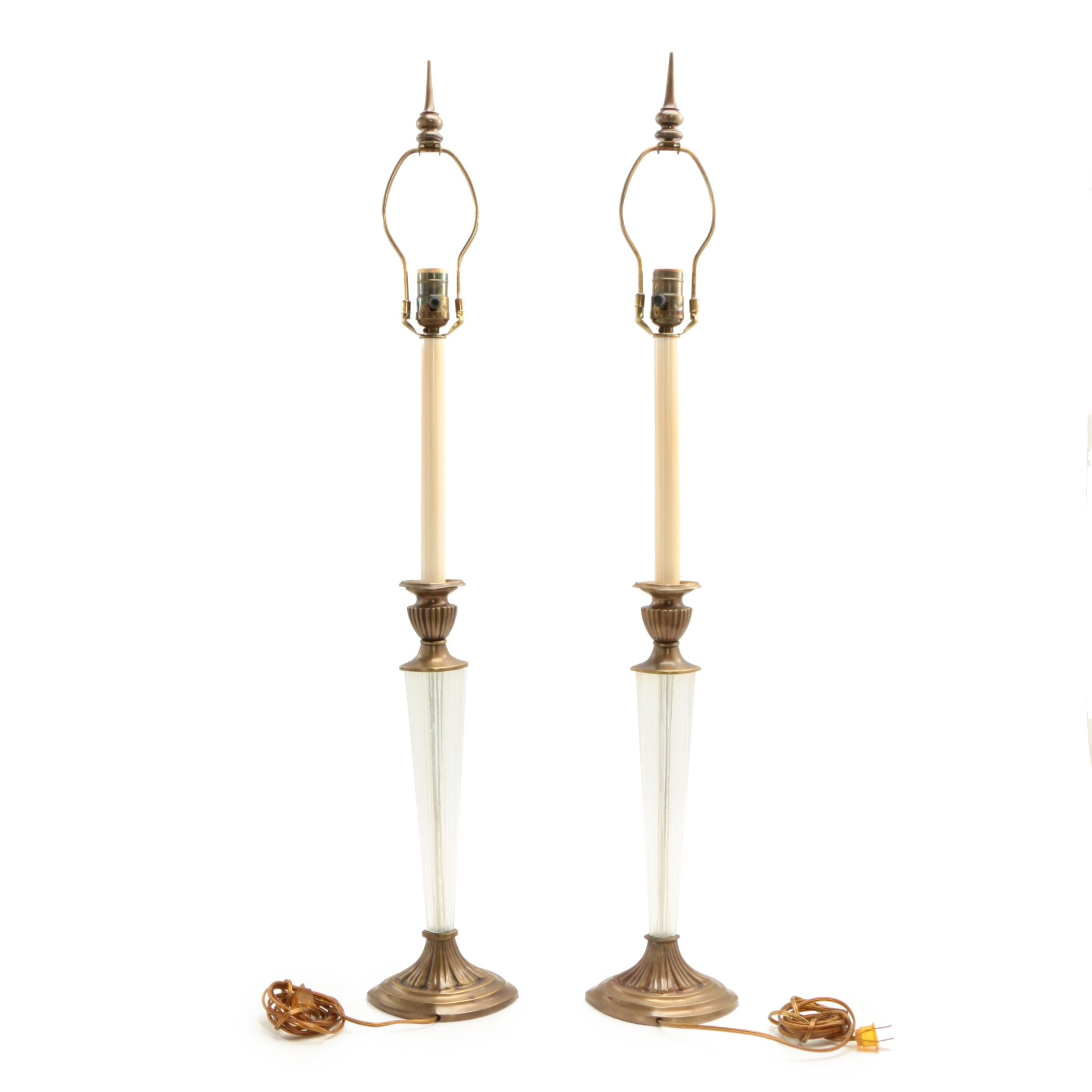Pair of Brass-Mounted Glass Candlestick-Form Table Lamps, 20th Century