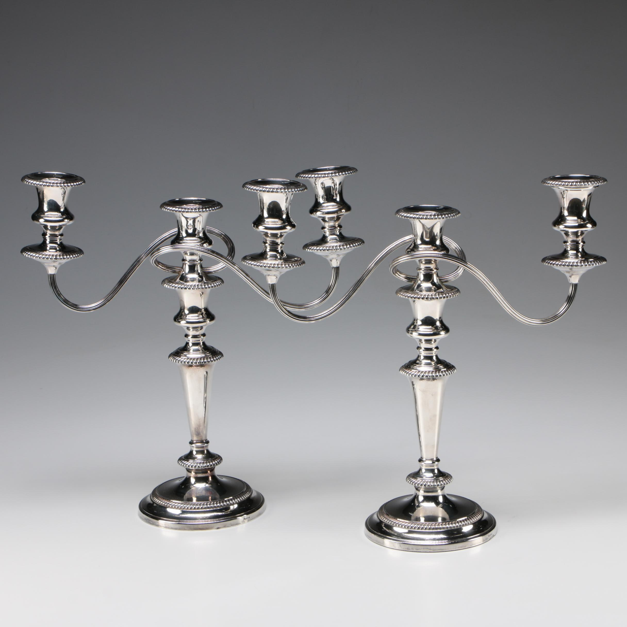 Barker Brothers English Silver Plate Gadrooned Candelabra