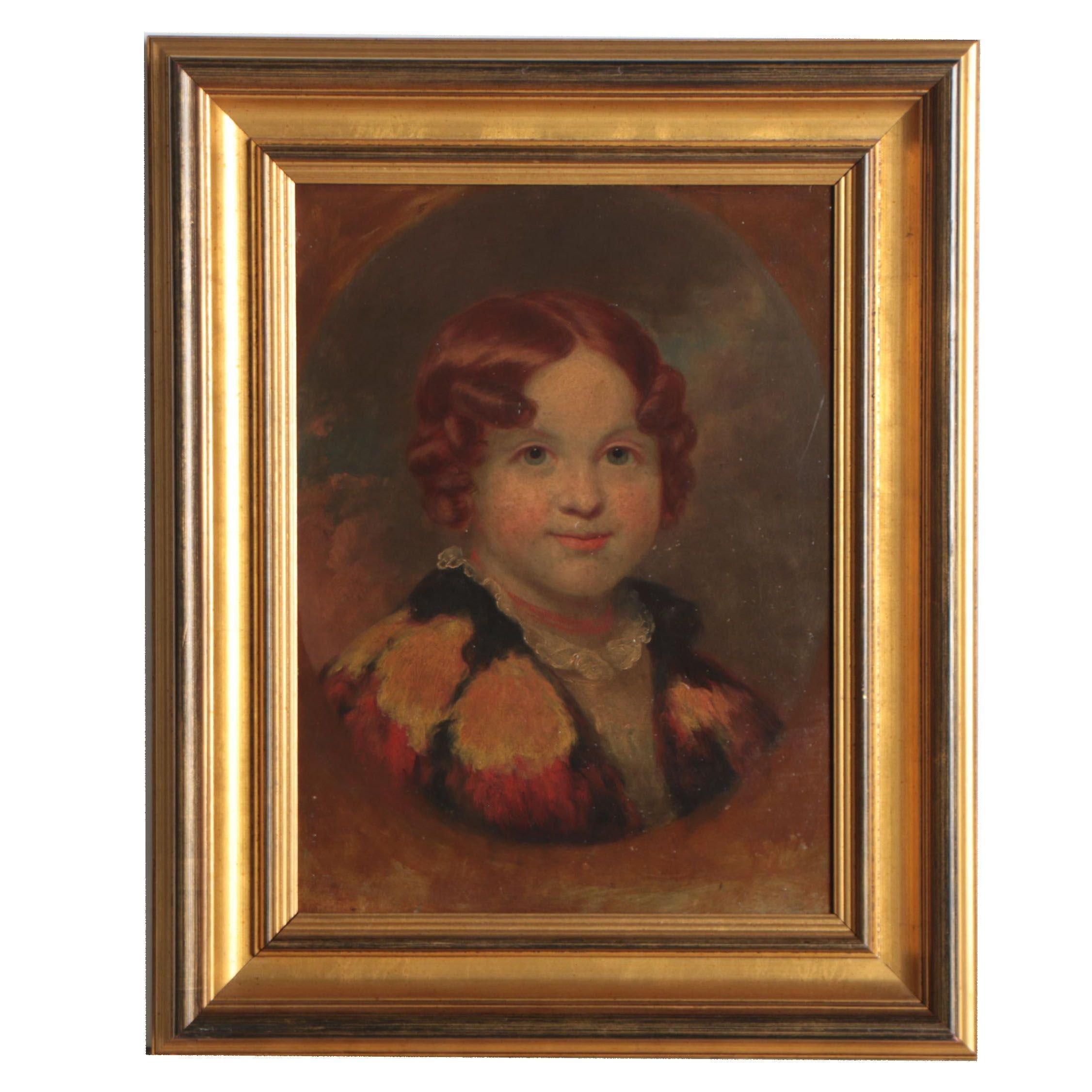 19th Century Oil Portrait of Child
