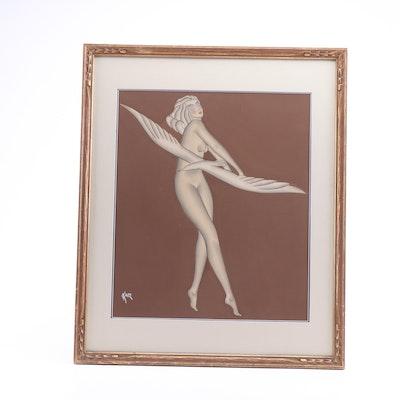 Gustav Kaitz Mixed Media Painting
