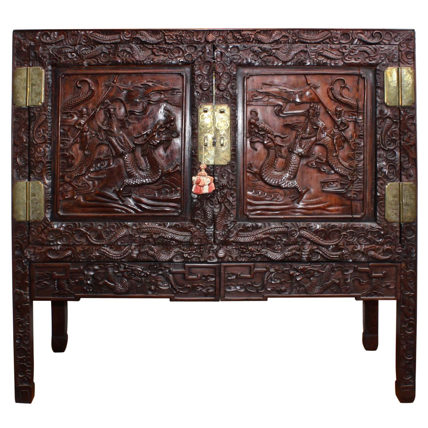Chinese Carved Wooden Chest on Stand, 20th Century