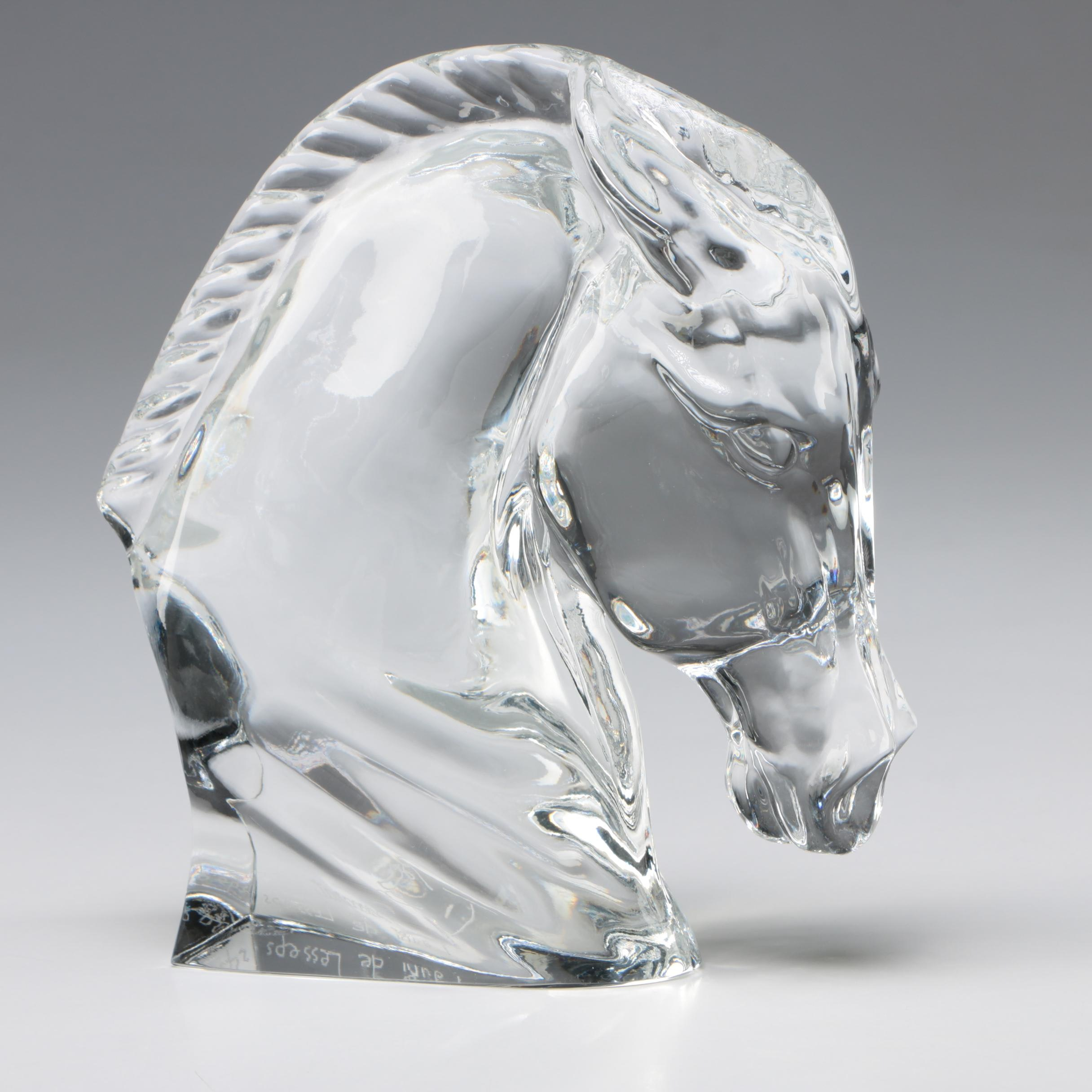 """Tauni de Lesseps for Baccarat """"Horse's Head"""" Crystal Figurine"""