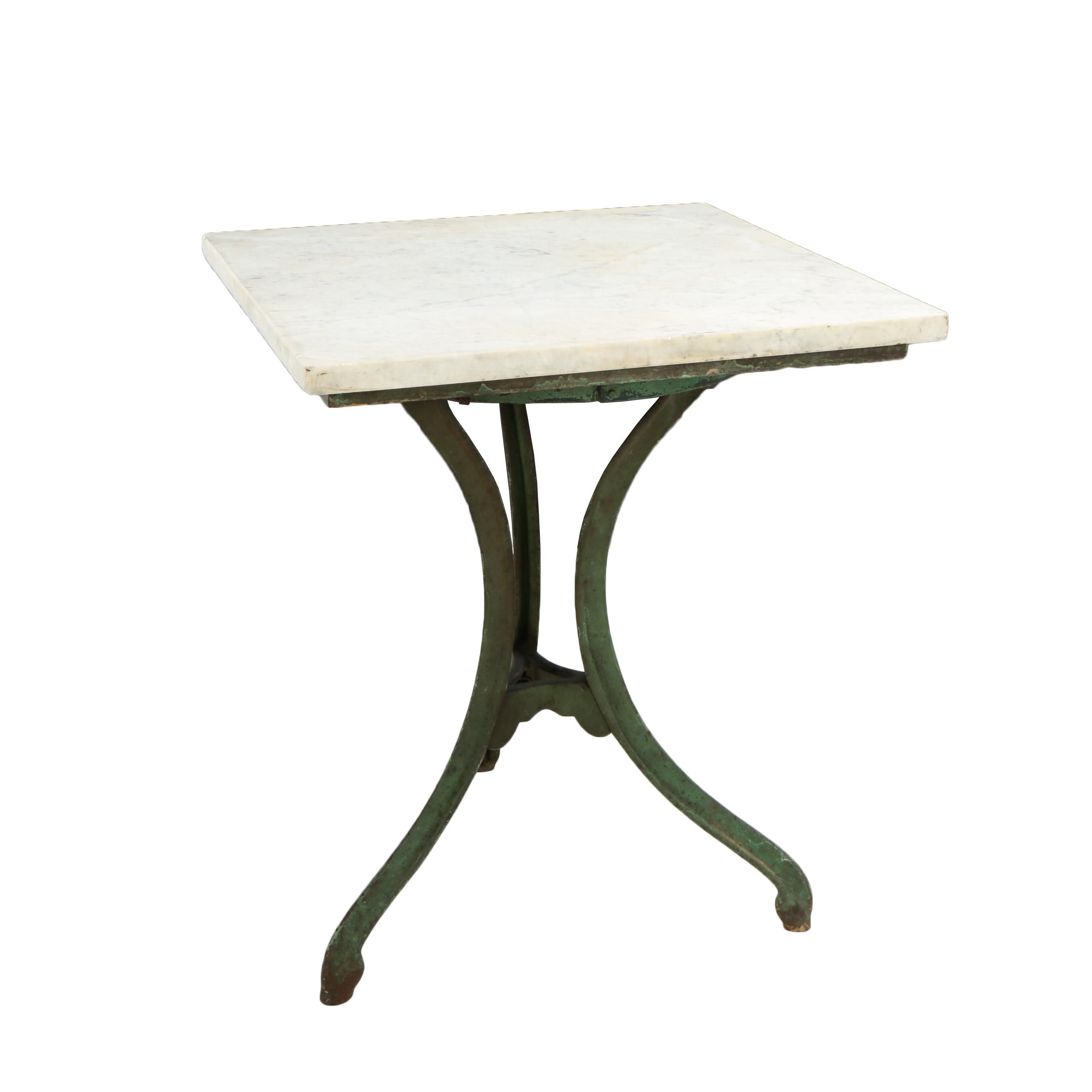 Green-Painted Iron and White Marble Garden Table, Late 19th/Early 20th Century