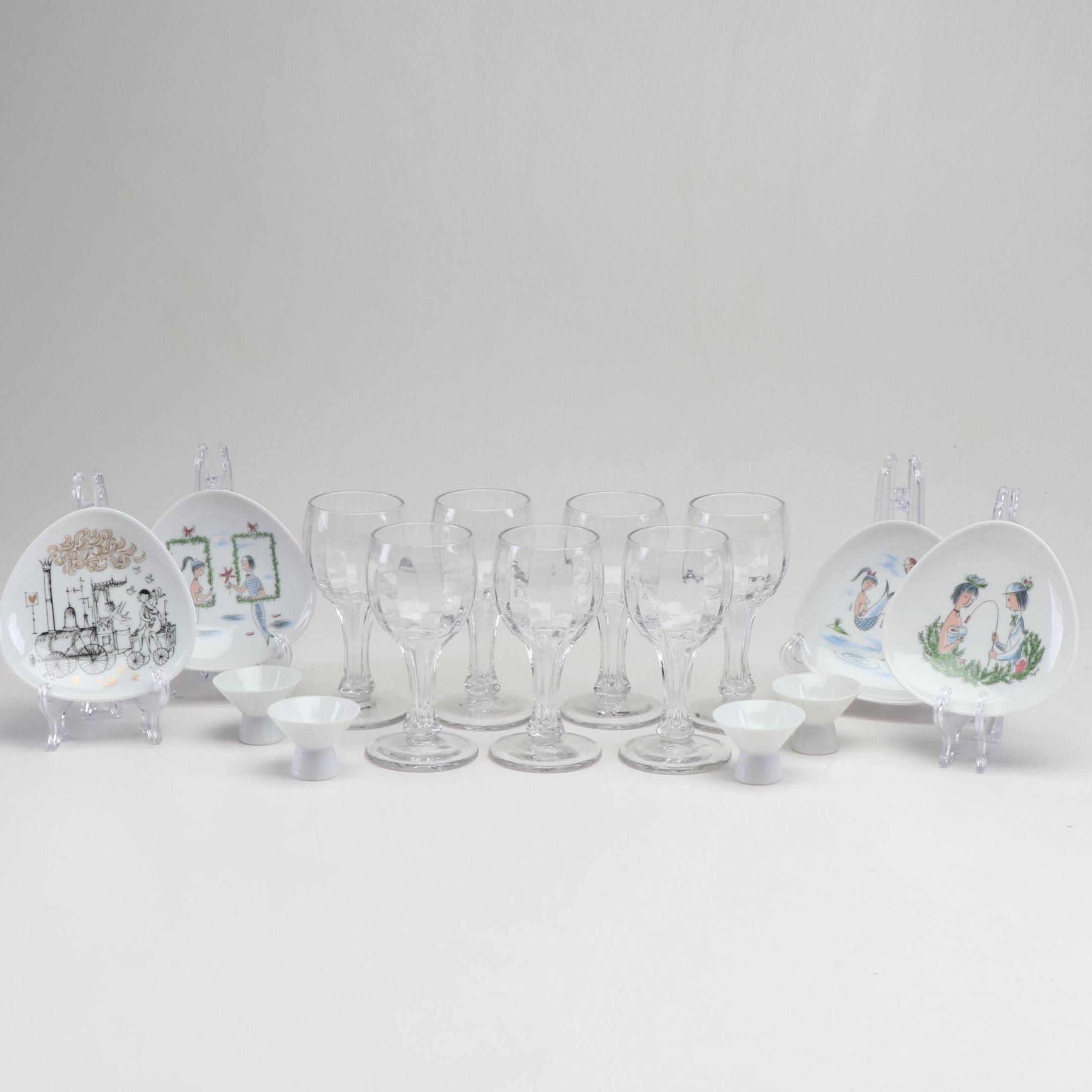 "Raymond Peynet for Rosenthal ""Continental"" Dinnerware and Glass Stemware"