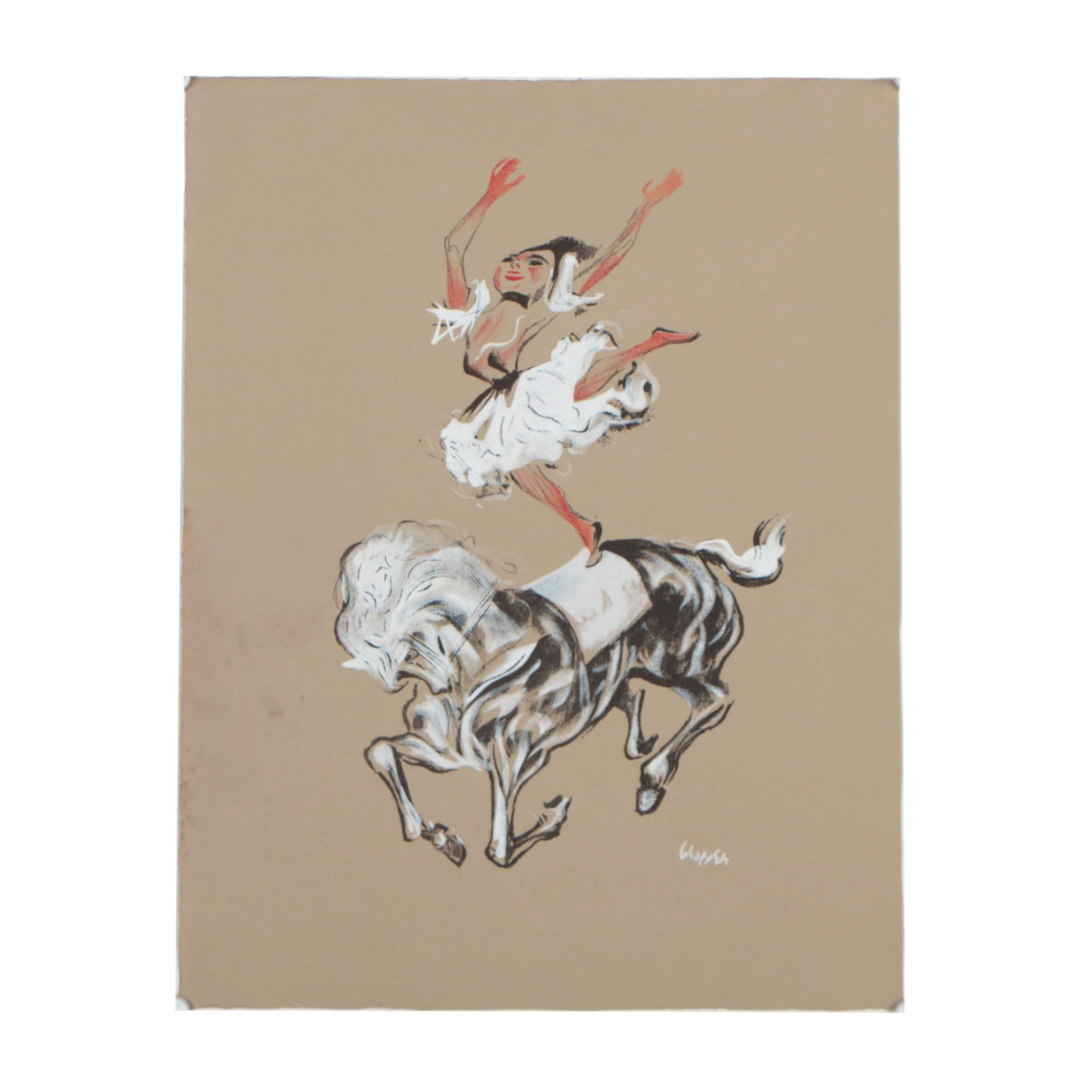 """Mixed Media Print after William Gropper """"The Equestrienne"""""""