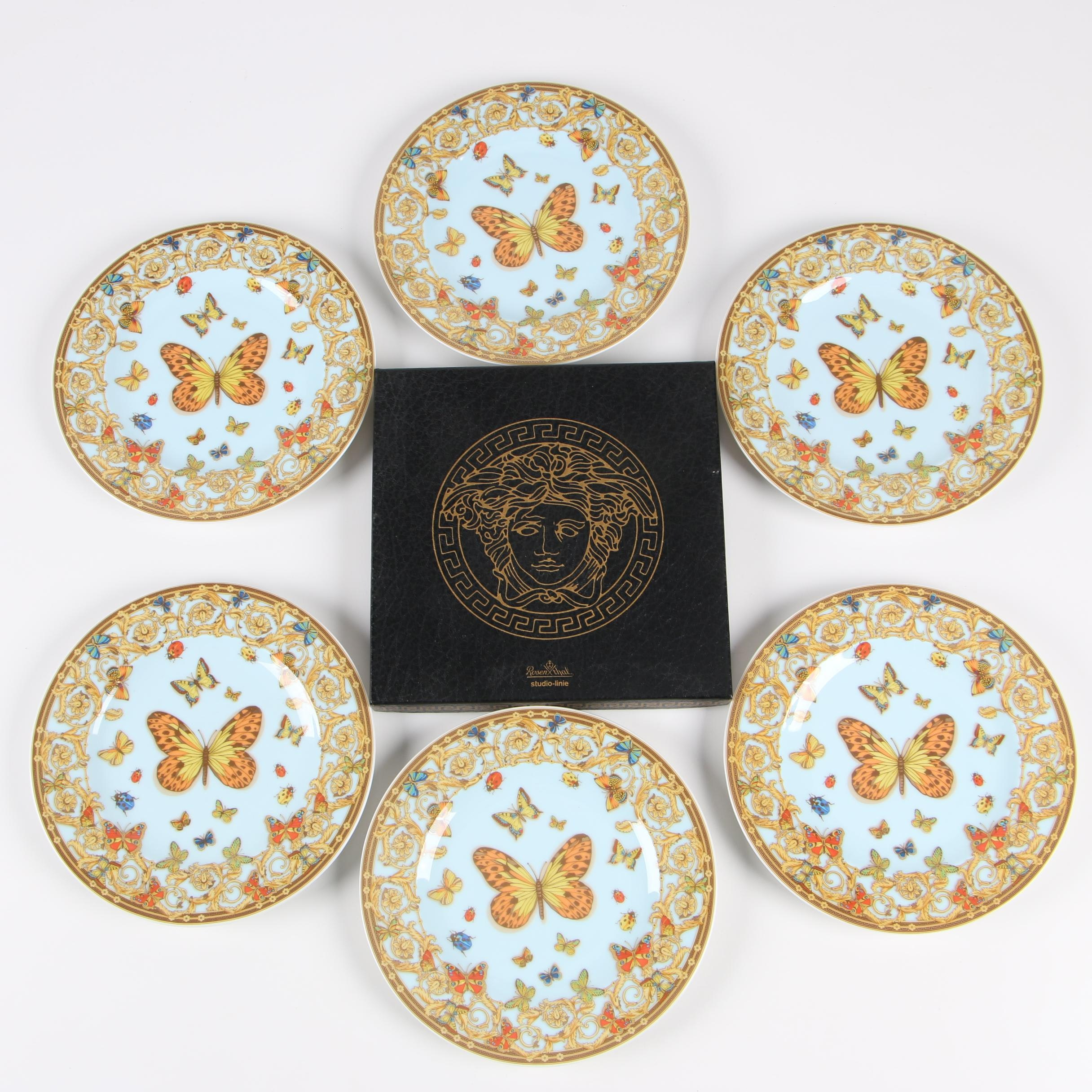 "Versace for Rosenthal ""Le Jardin des Papillons"" Porcelain Bread & Butter Plates"
