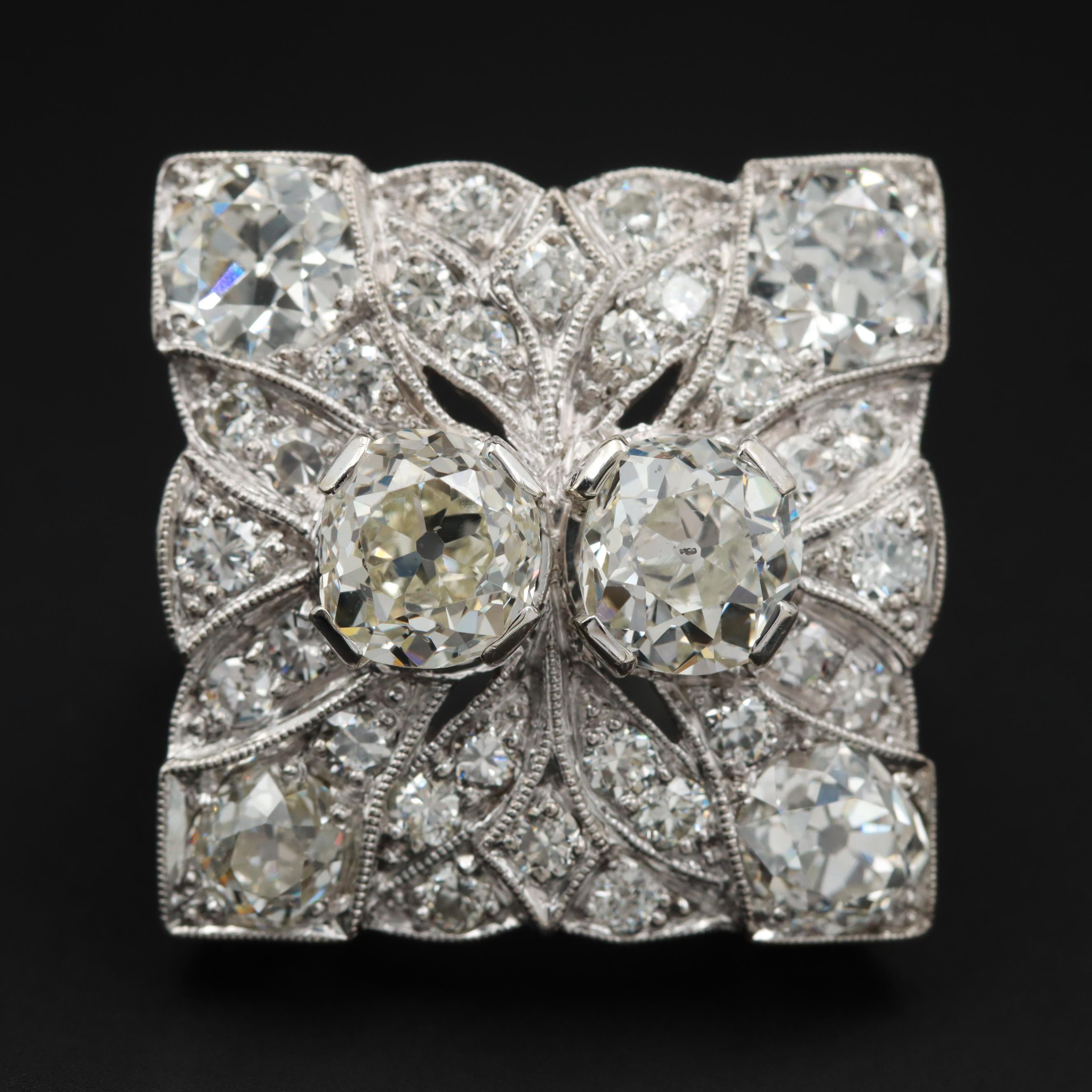 Circa 1930s Palladium 6.28 CTW Diamond Scrollwork Ring and Milgrain Detailing