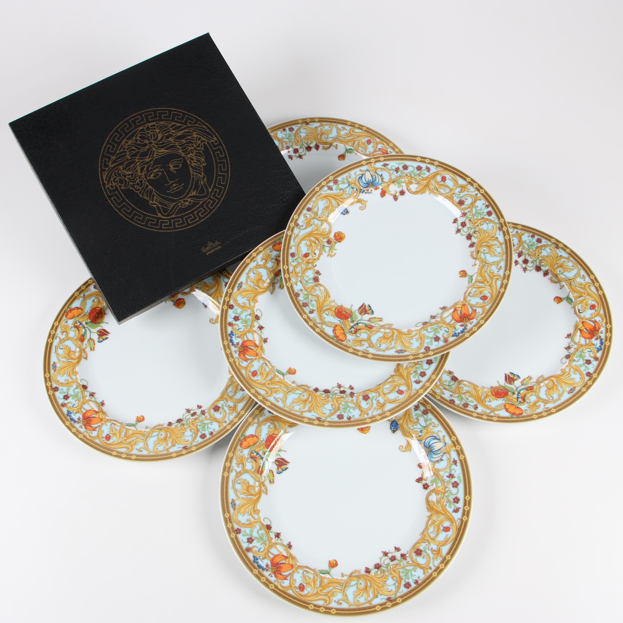 "Versace for Rosenthal ""Le Jardin des Papillons"" Porcelain Dinner Plates"