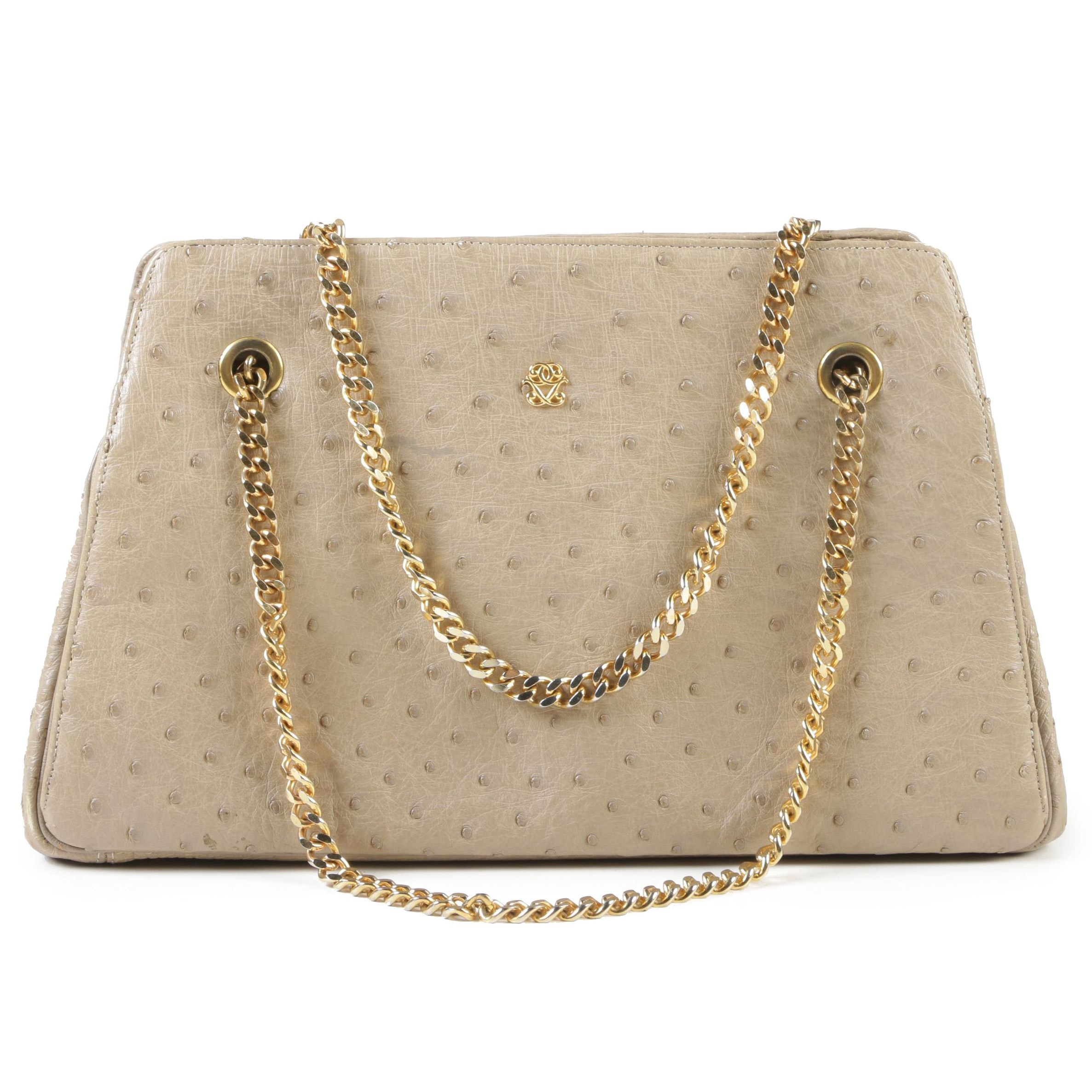 Koret Beige Full Quill Ostrich Skin Handbag with Gold Tone Trim,1960s Vintage