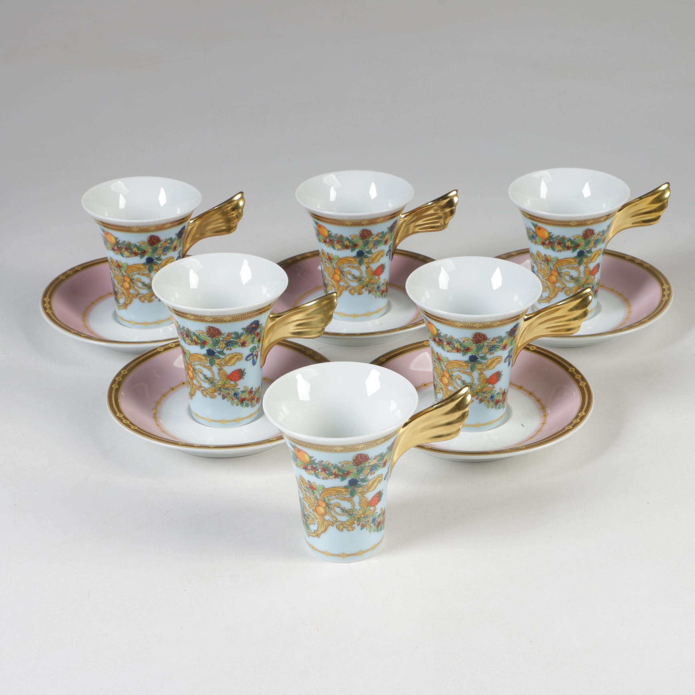 "Versace for Rosenthal ""Le Jardin de Versace"" Demitasse Cups and Saucers"