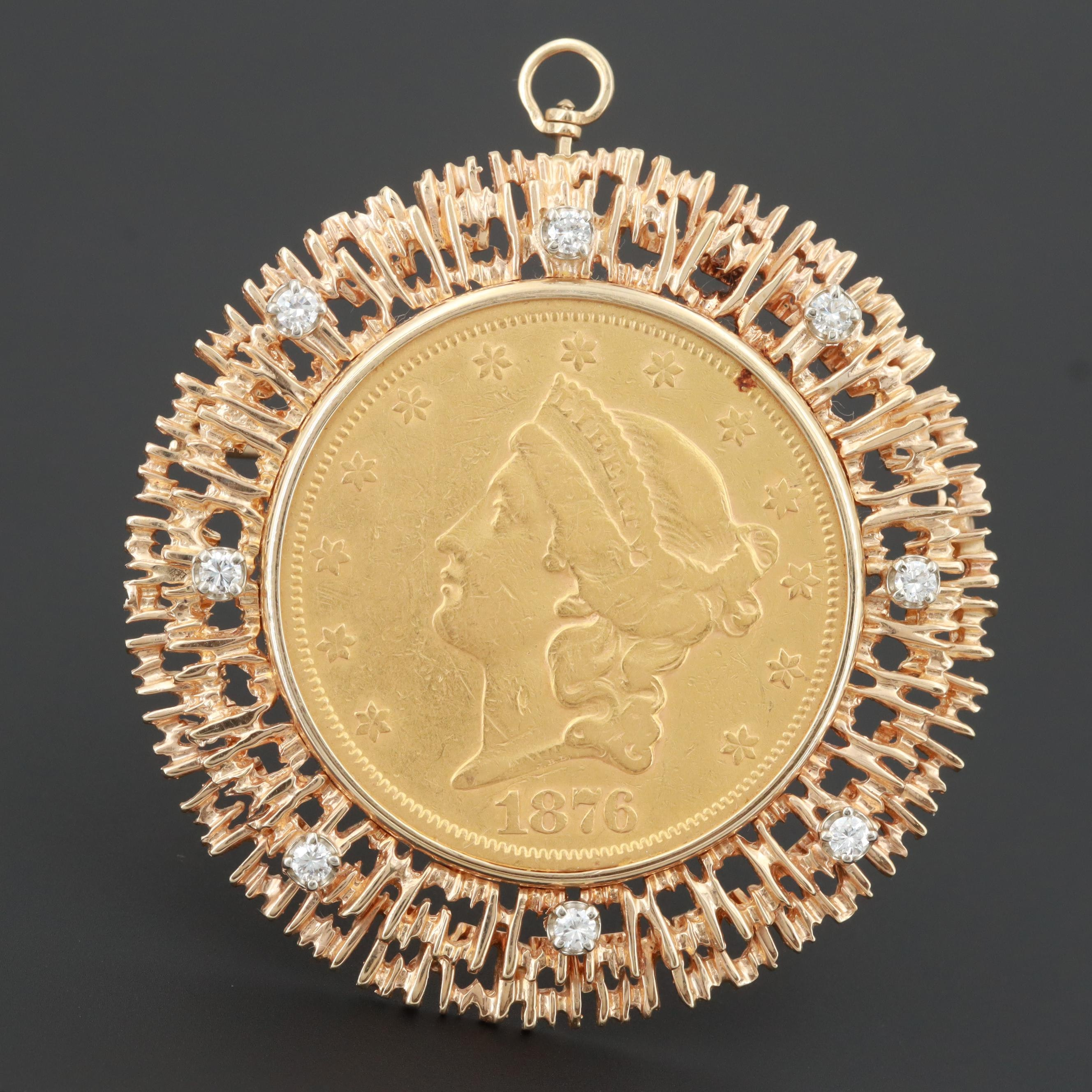 14K Diamond Converter Brooch with 1876 Liberty Head $20 Gold Double Eagle Coin