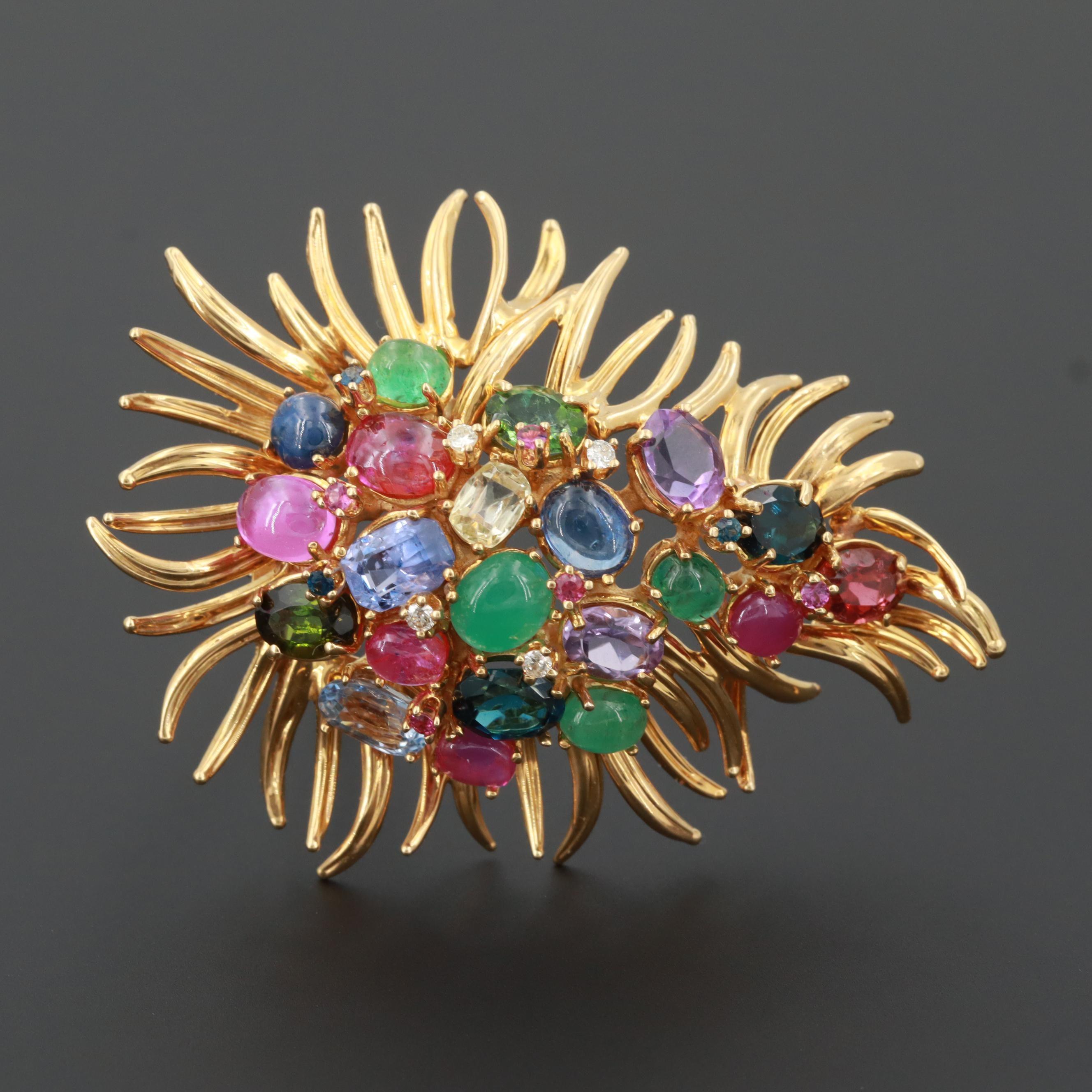 Circa 1960 Dessin Paris 18K Yellow Gold Gemstone Fur Clip Brooch with Diamonds