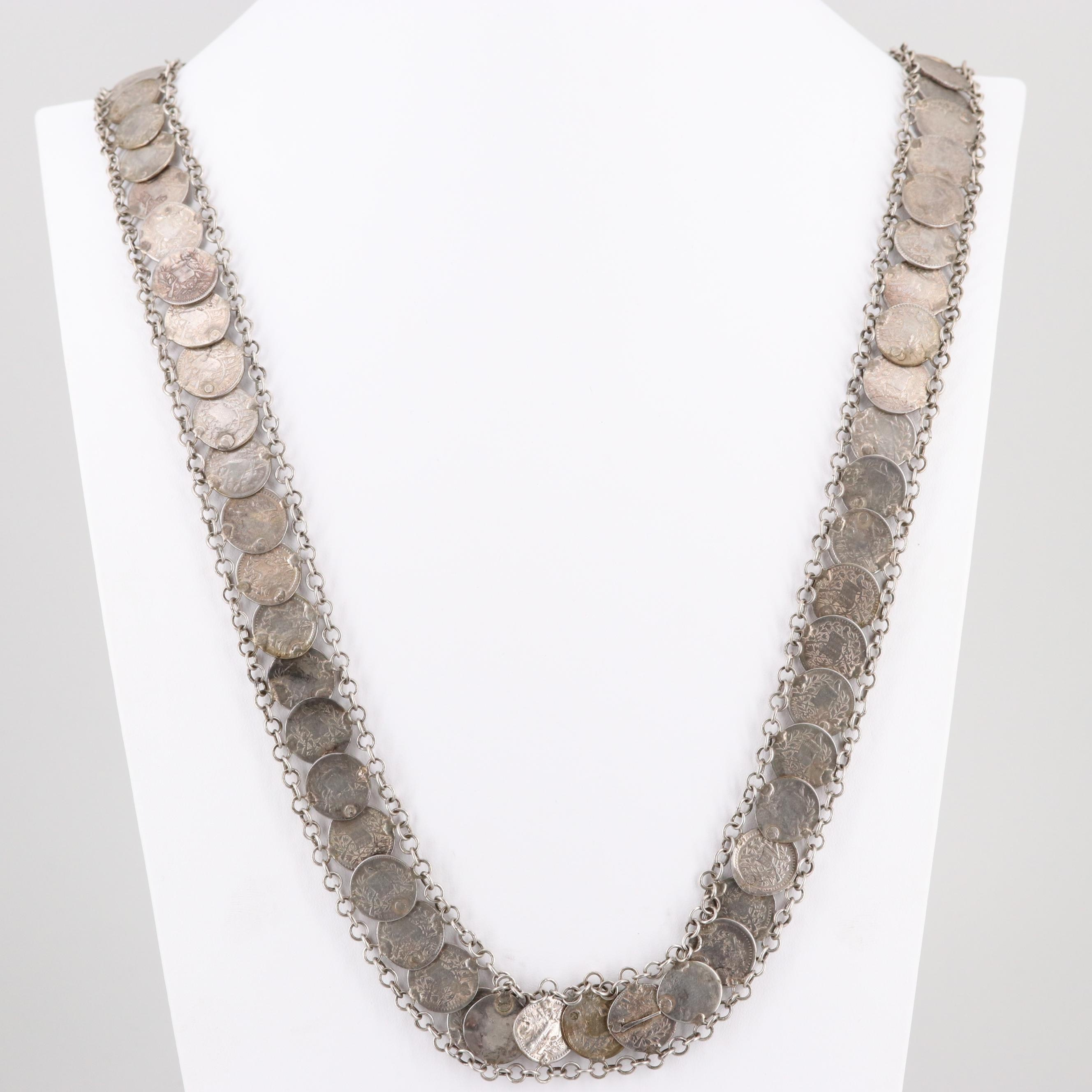 Antique Guatemalan, Spanish, and Mexican Silver Coin Necklace