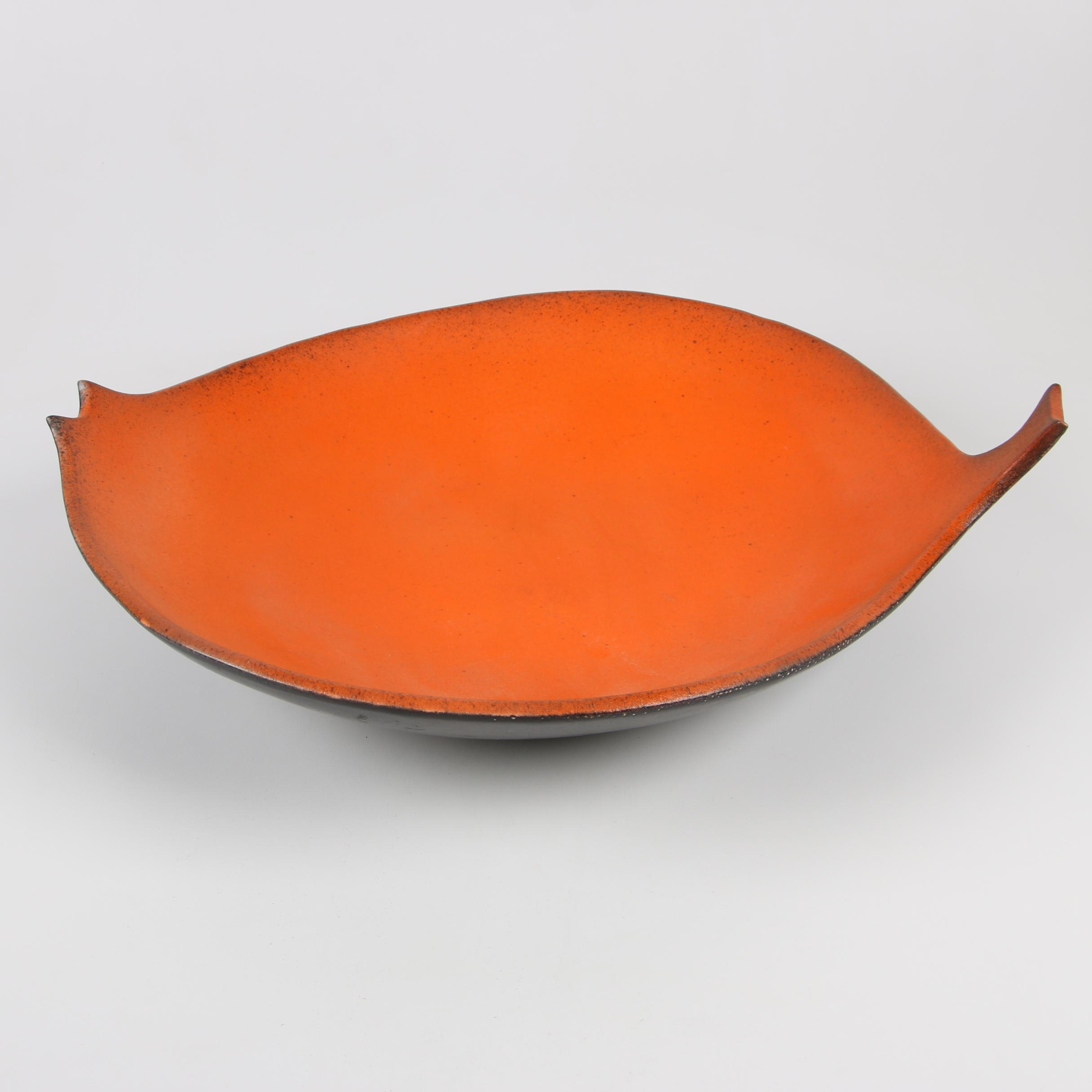 Danish Modern Style Earthenware Leaf Form Platter