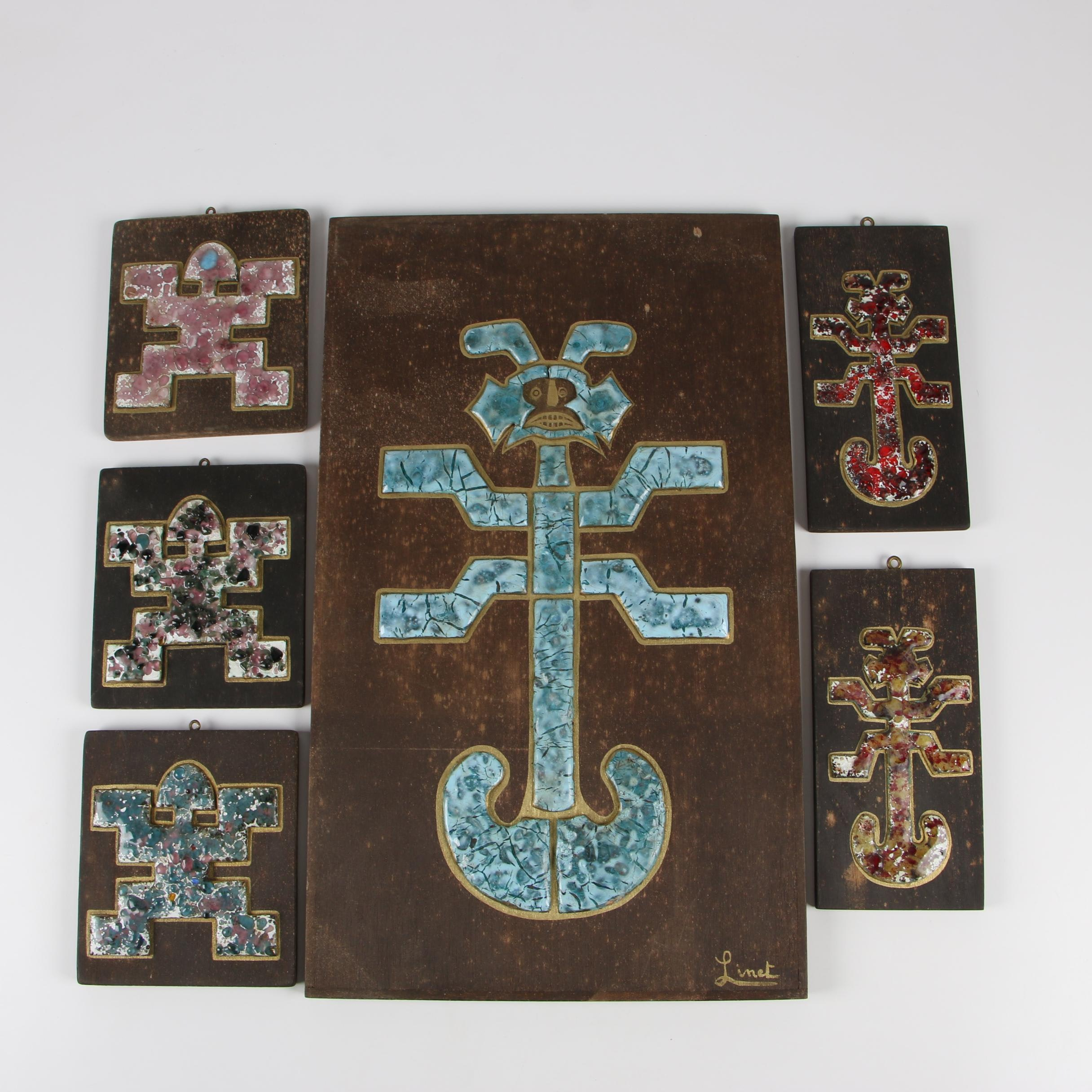 Colombian Enameled Pictorial Images on Wooden Panels