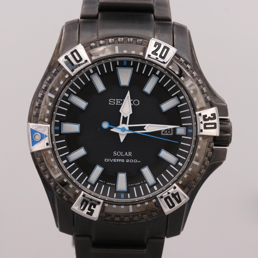 Seiko Solar Diver's 200M Stainless Steel Wristwatch With Date Window