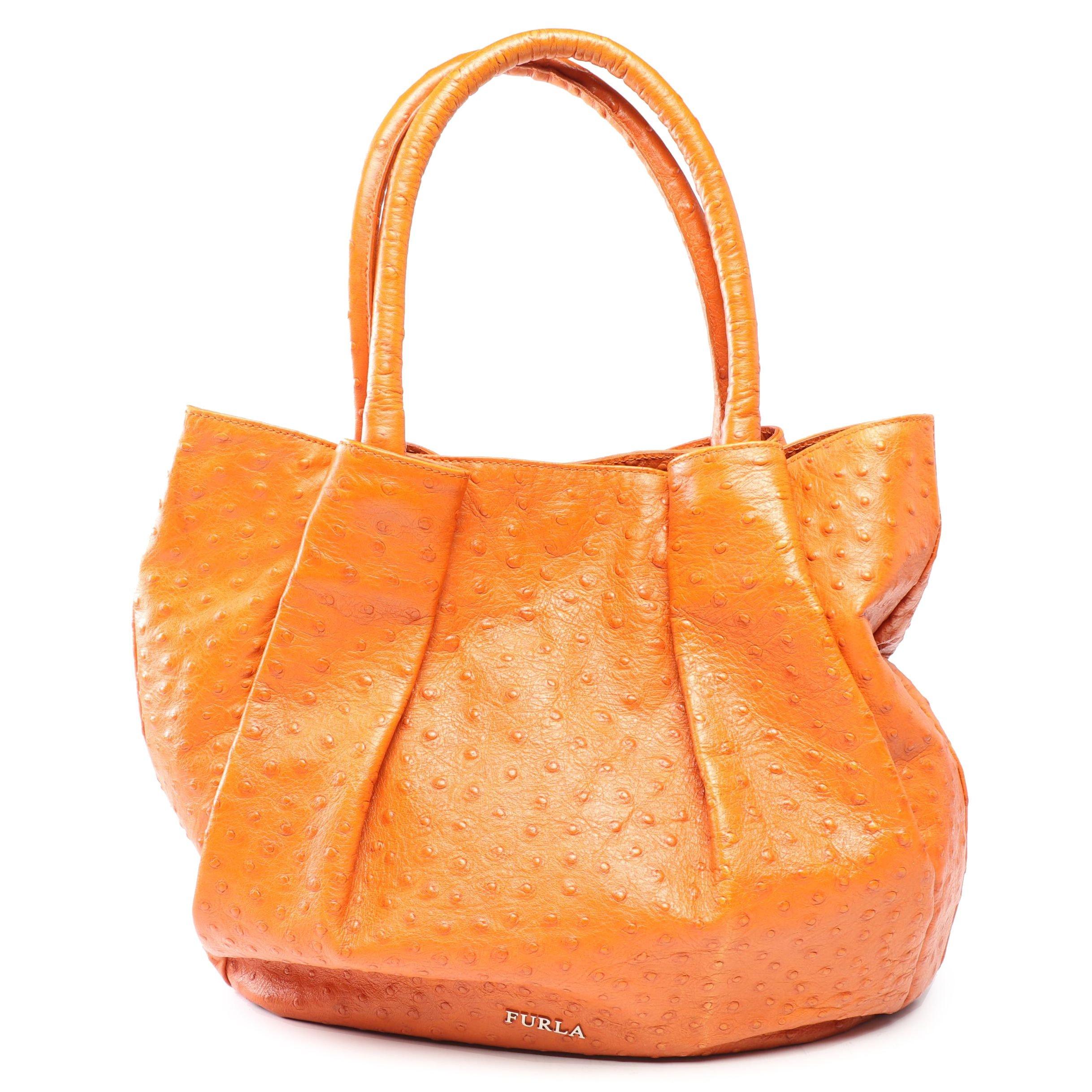 Furla Ostrich Embossed Orange Leather Handbag, Made in Italy