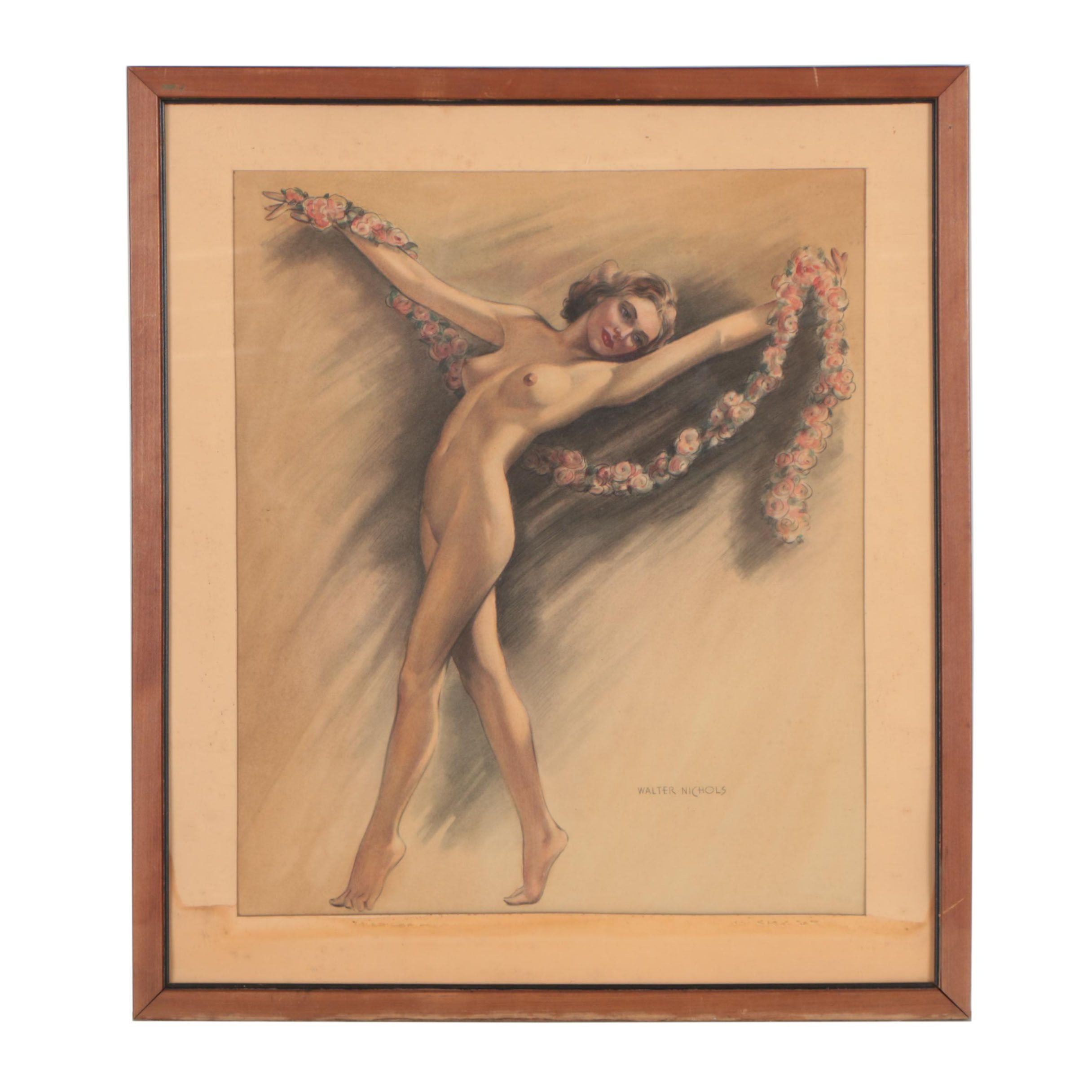 Walter Nichols Mid 20th Century Mixed Media Drawing of Nude Female Dancer