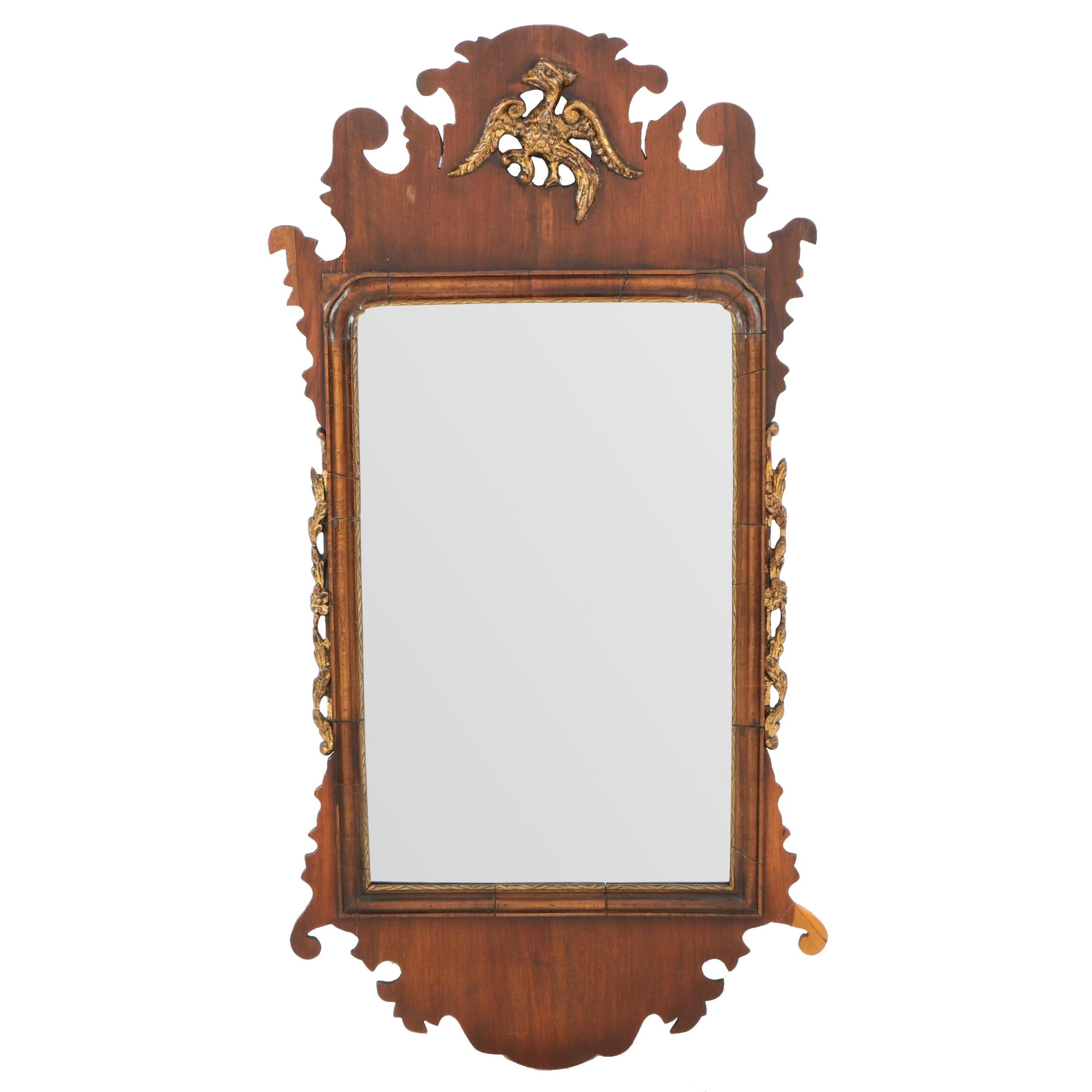 George III Style Mahogany and Parcel-Gilt Fret-Carved Mirror, 20th Century