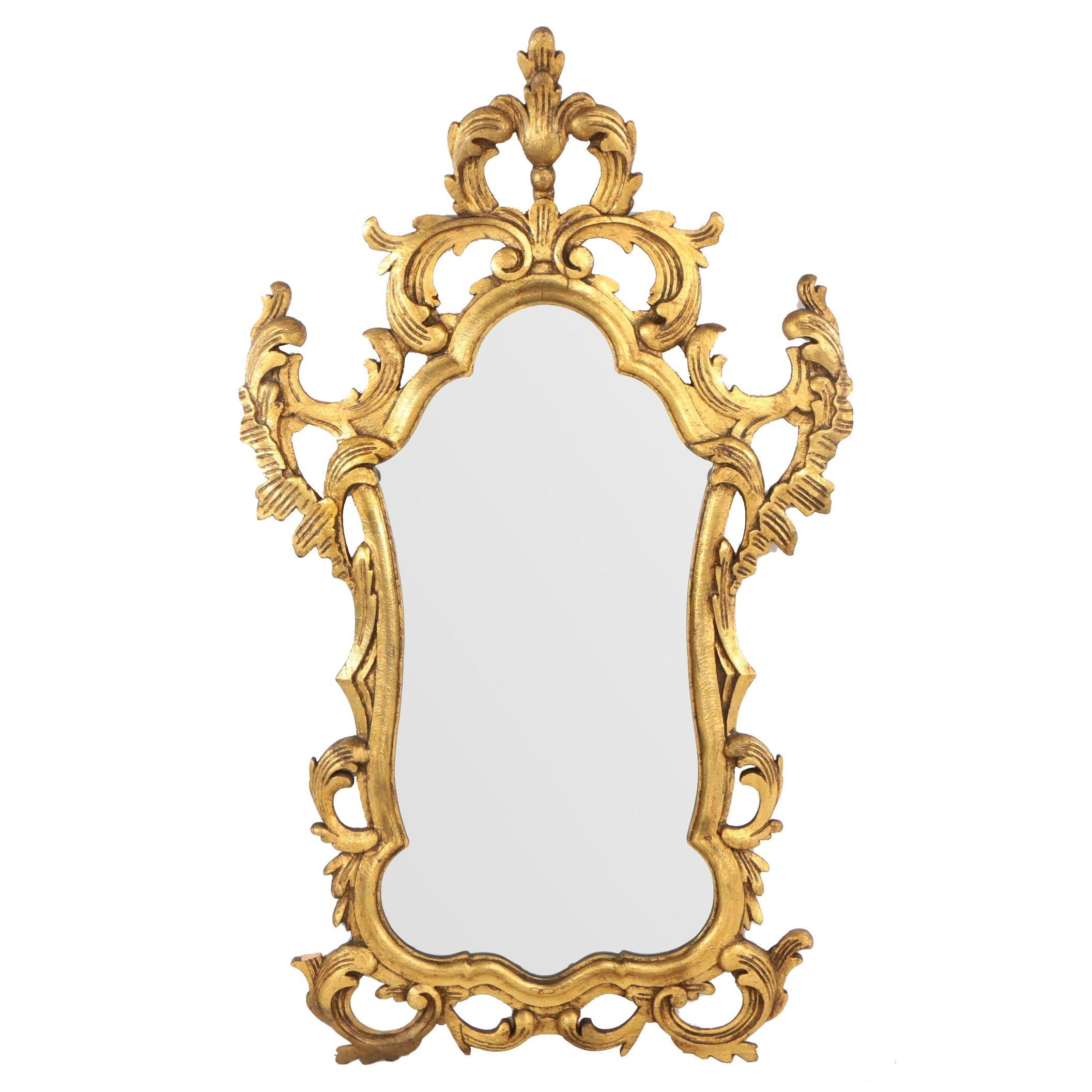 Francisco Hurtado Spanish Baroque Style Carved Giltwood Mirror, Mid 20th Century