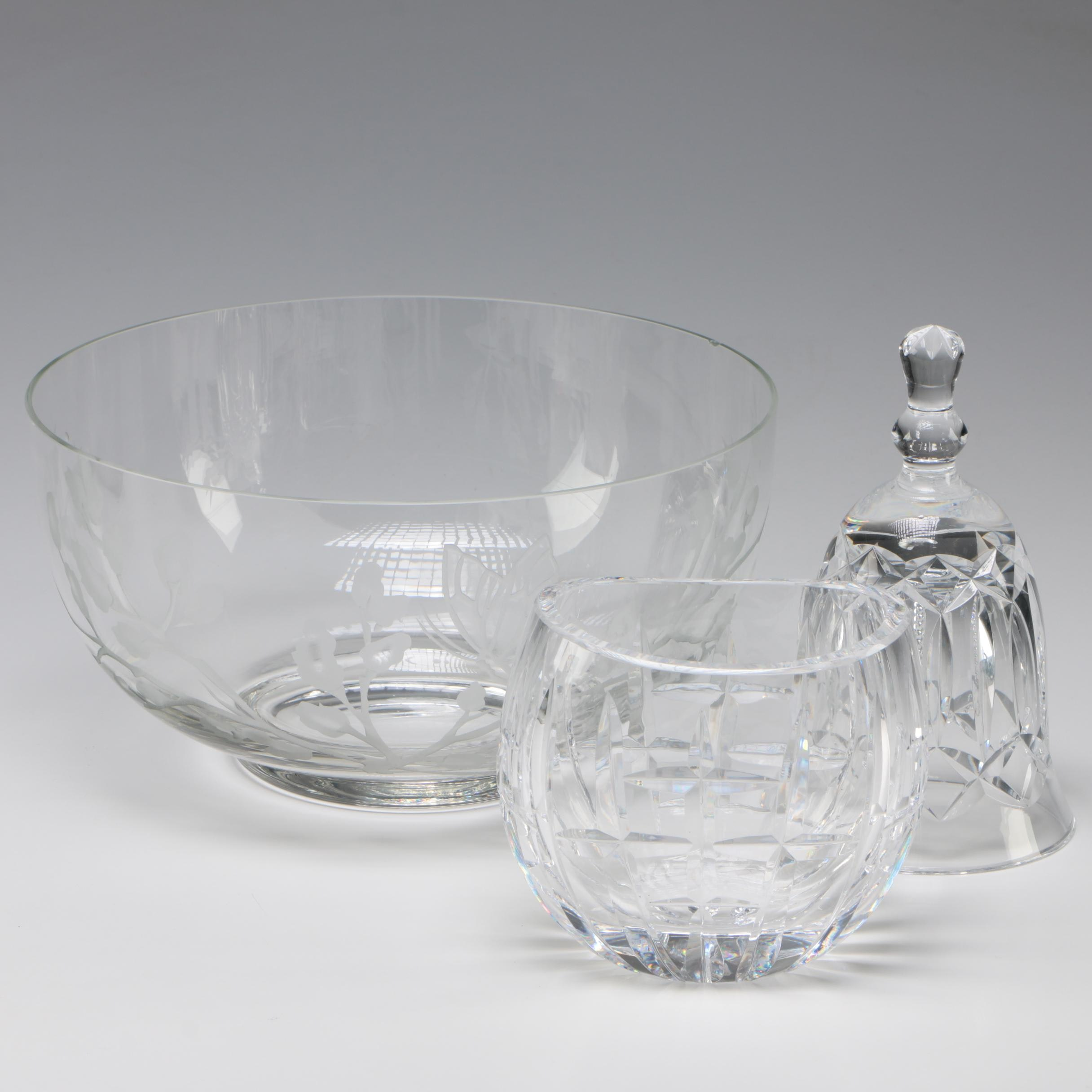 Waterford Crystal Oval Vase with Crystal Bell and Etched Glass Serving Bowl