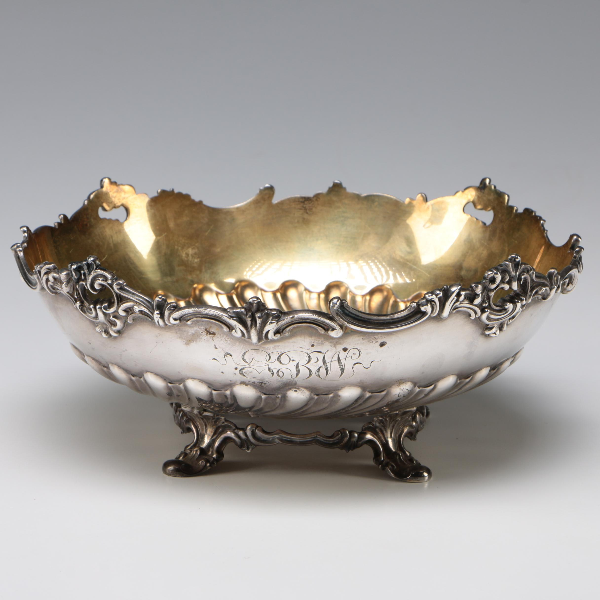 Gorham Sterling Silver Bowl with Gold Wash Interior, 1892