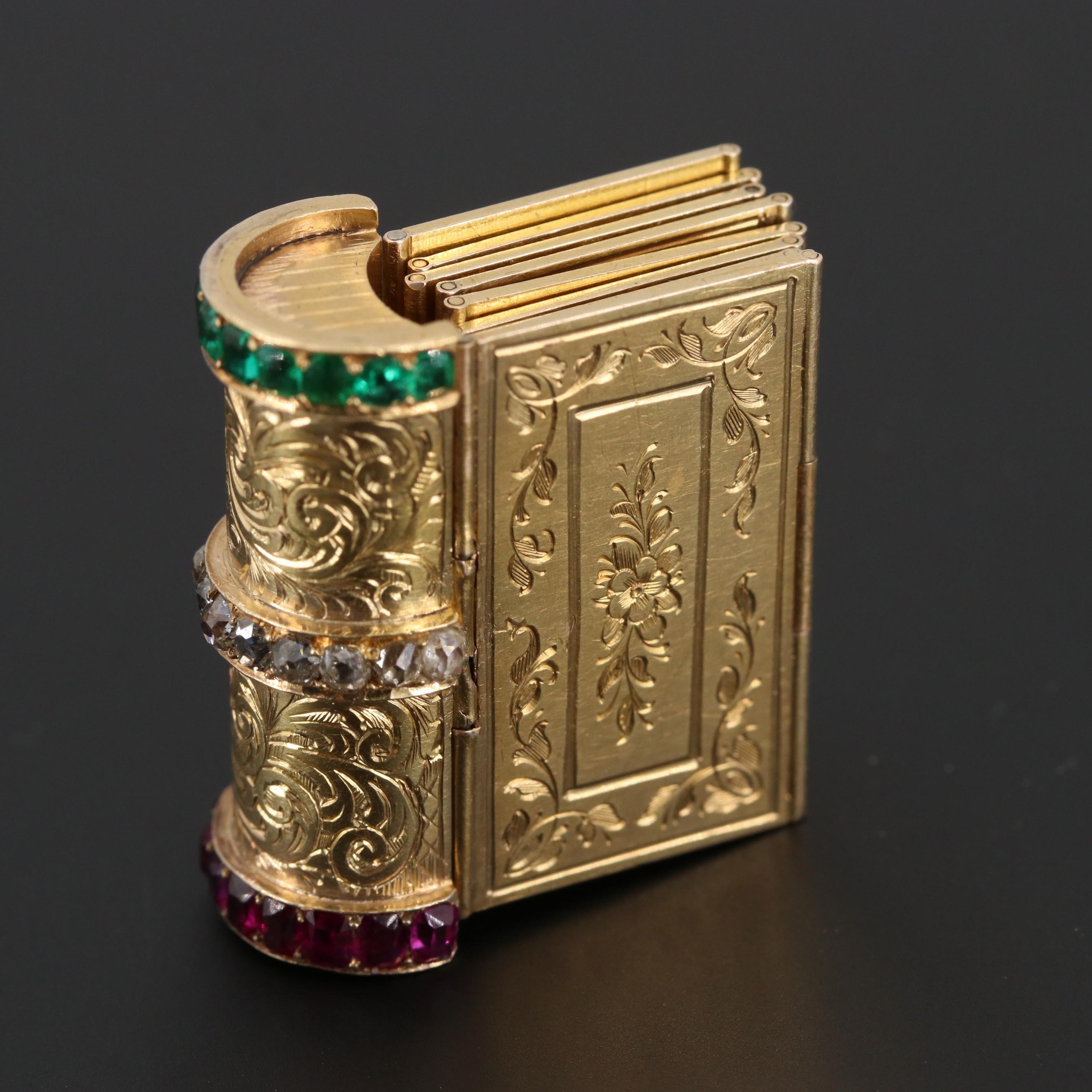 "Victorian 18K Yellow Gold Diamond, Ruby, Emerald ""Souvenir"" Book Themed Bracelet"